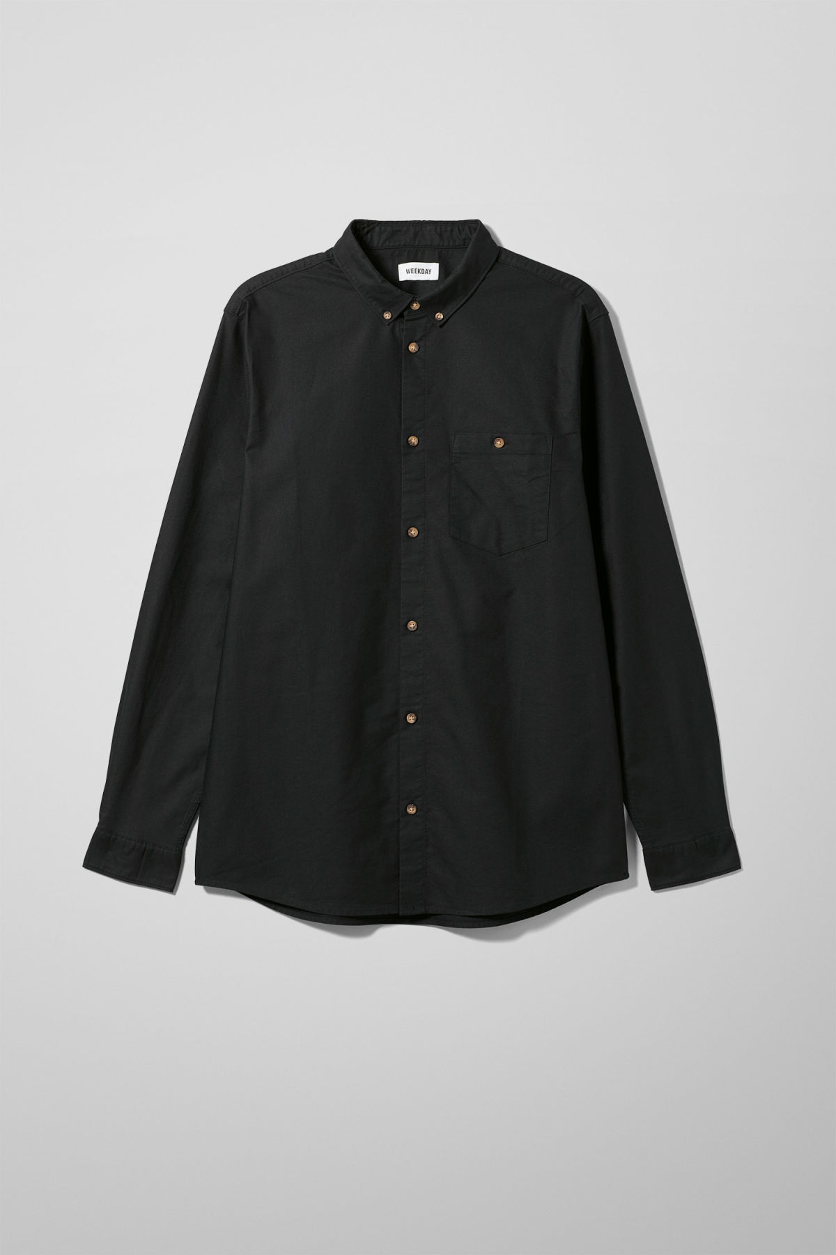 Front image of Weekday bad times shirt in black