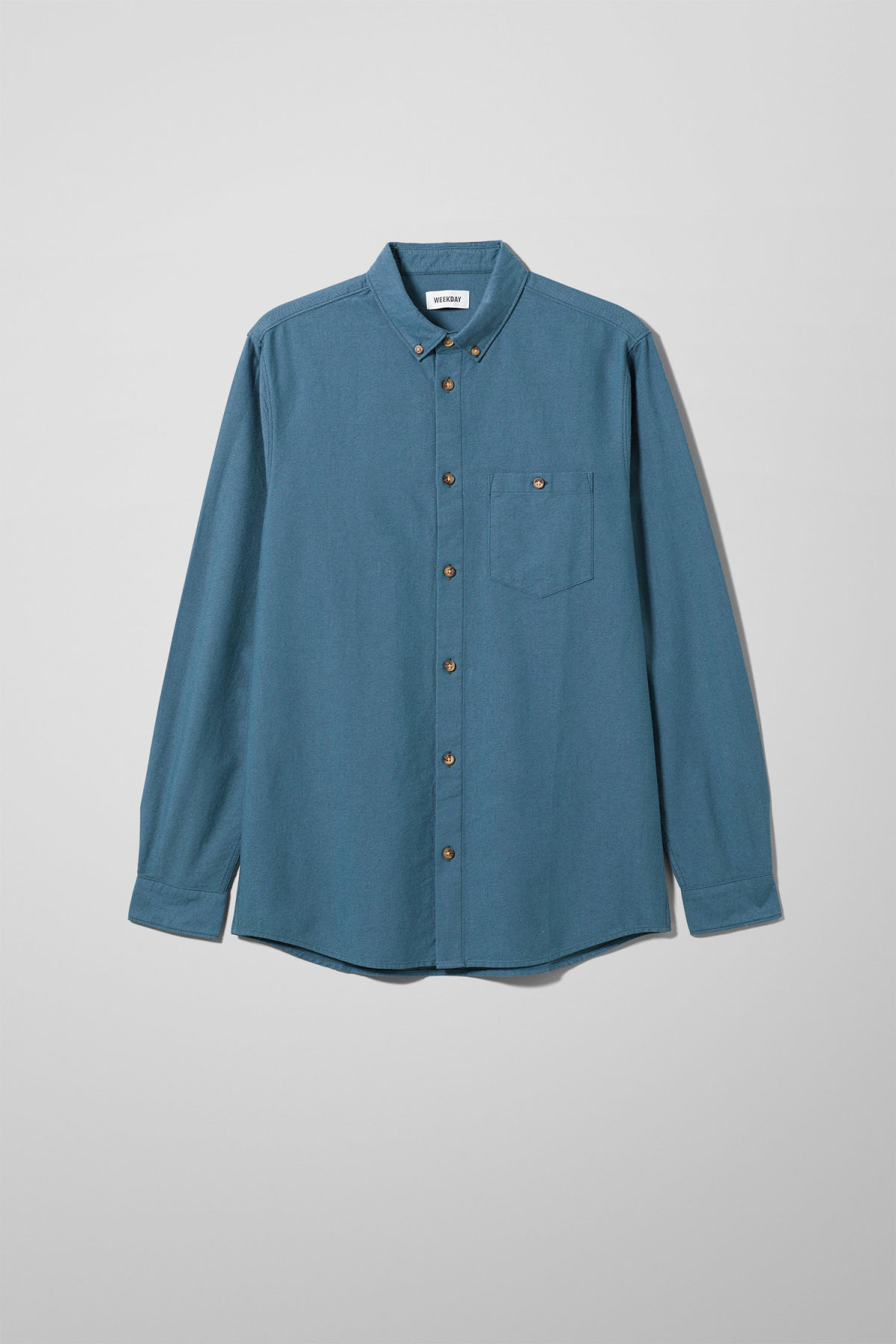 Front image of Weekday bad times shirt in turquoise