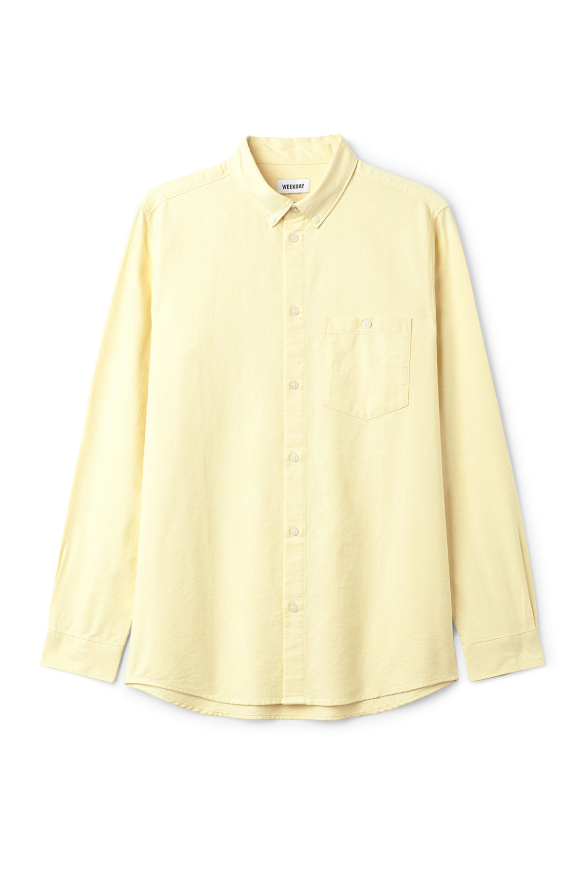Front image of Weekday bad times shirt in yellow