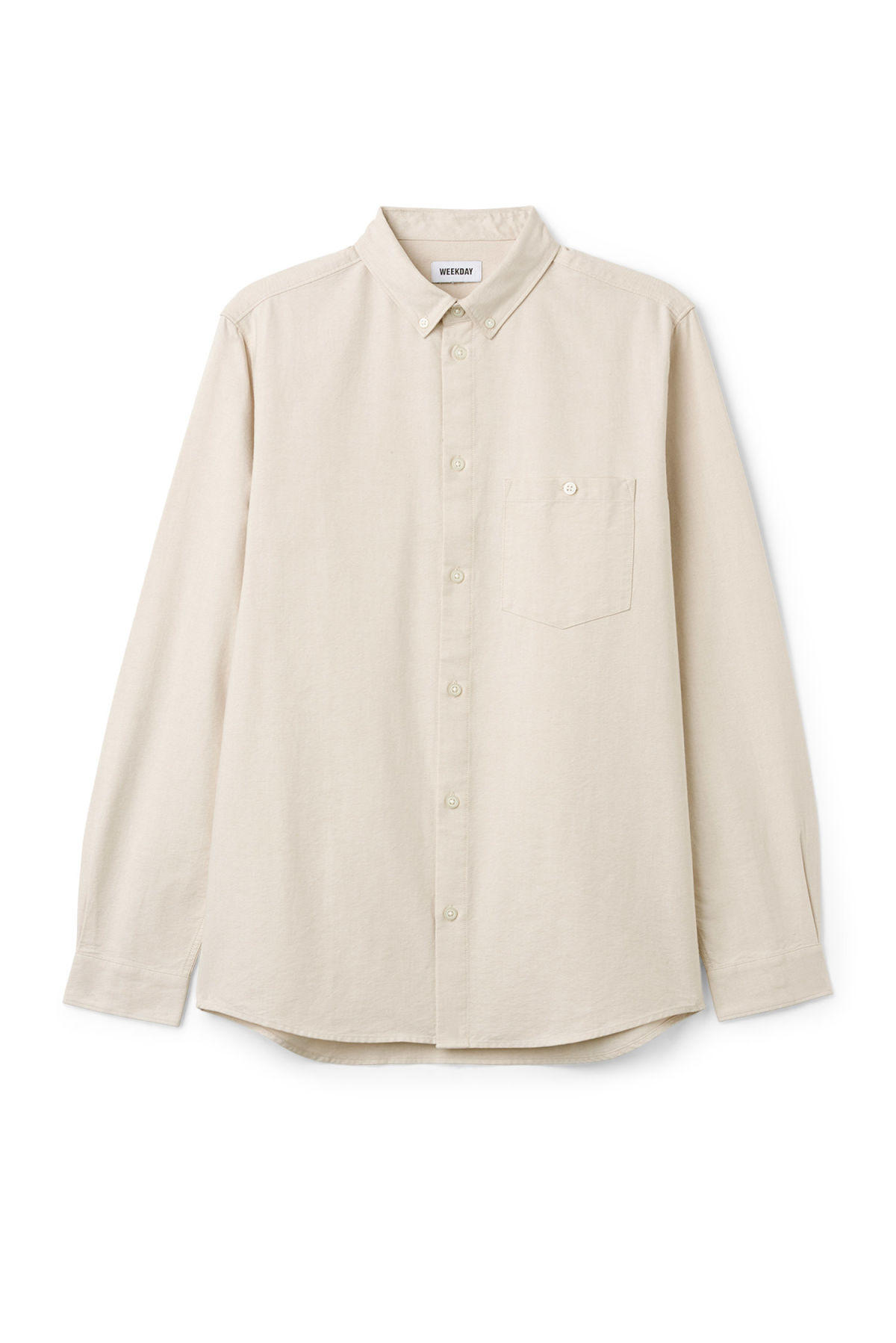 Front image of Weekday bad times shirt in beige