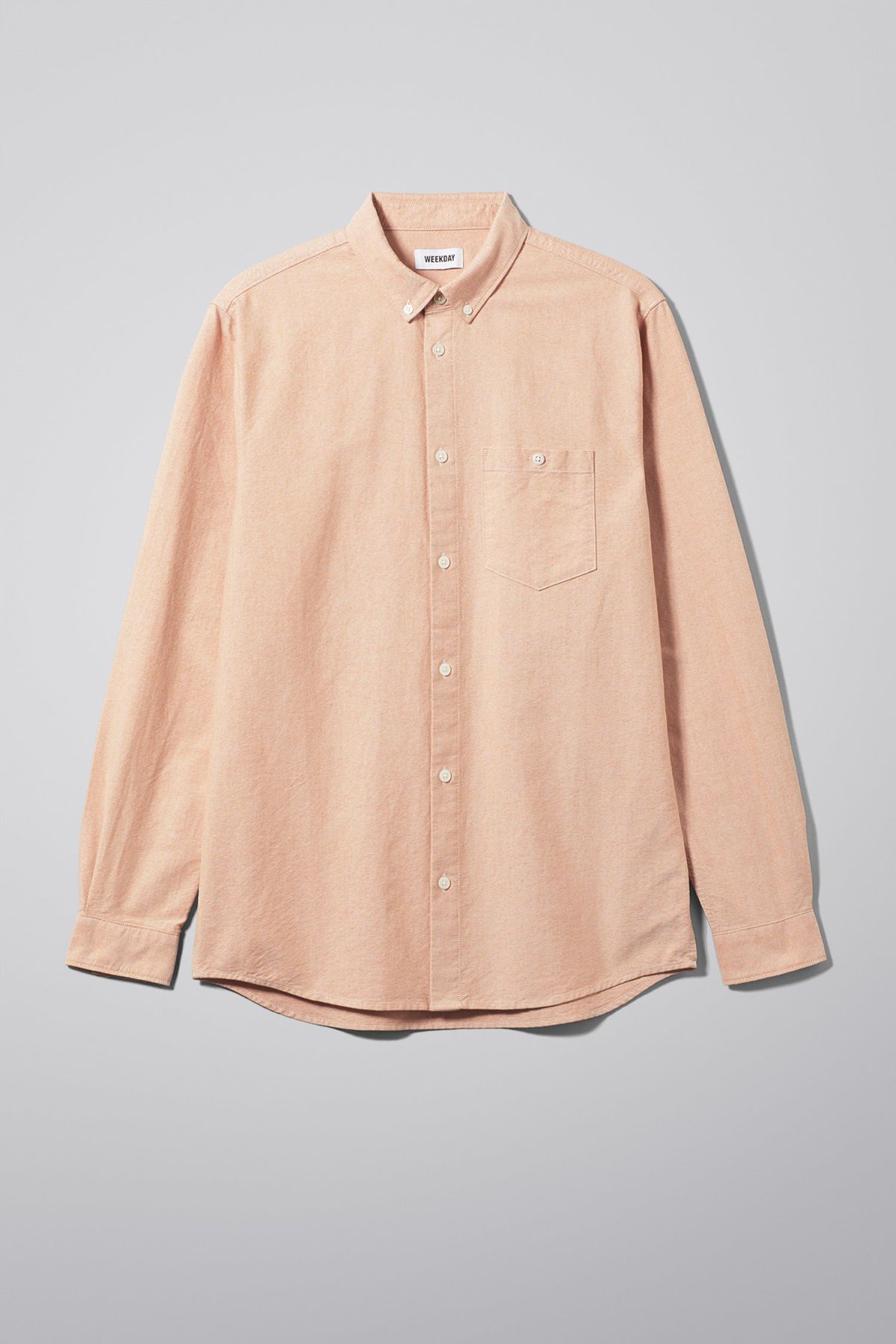 Front image of Weekday bad times shirt in orange