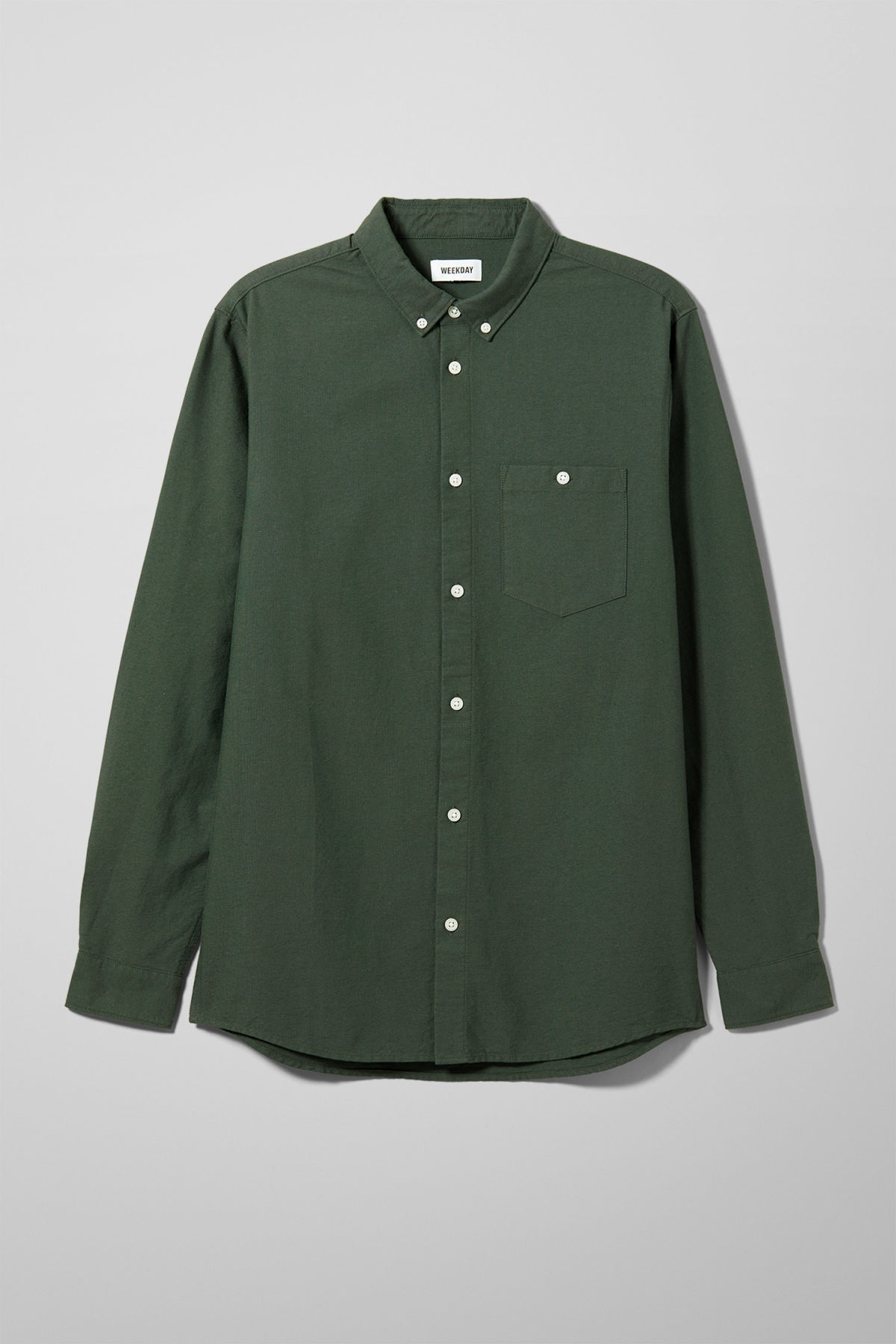 Front image of Weekday bad times shirt in green