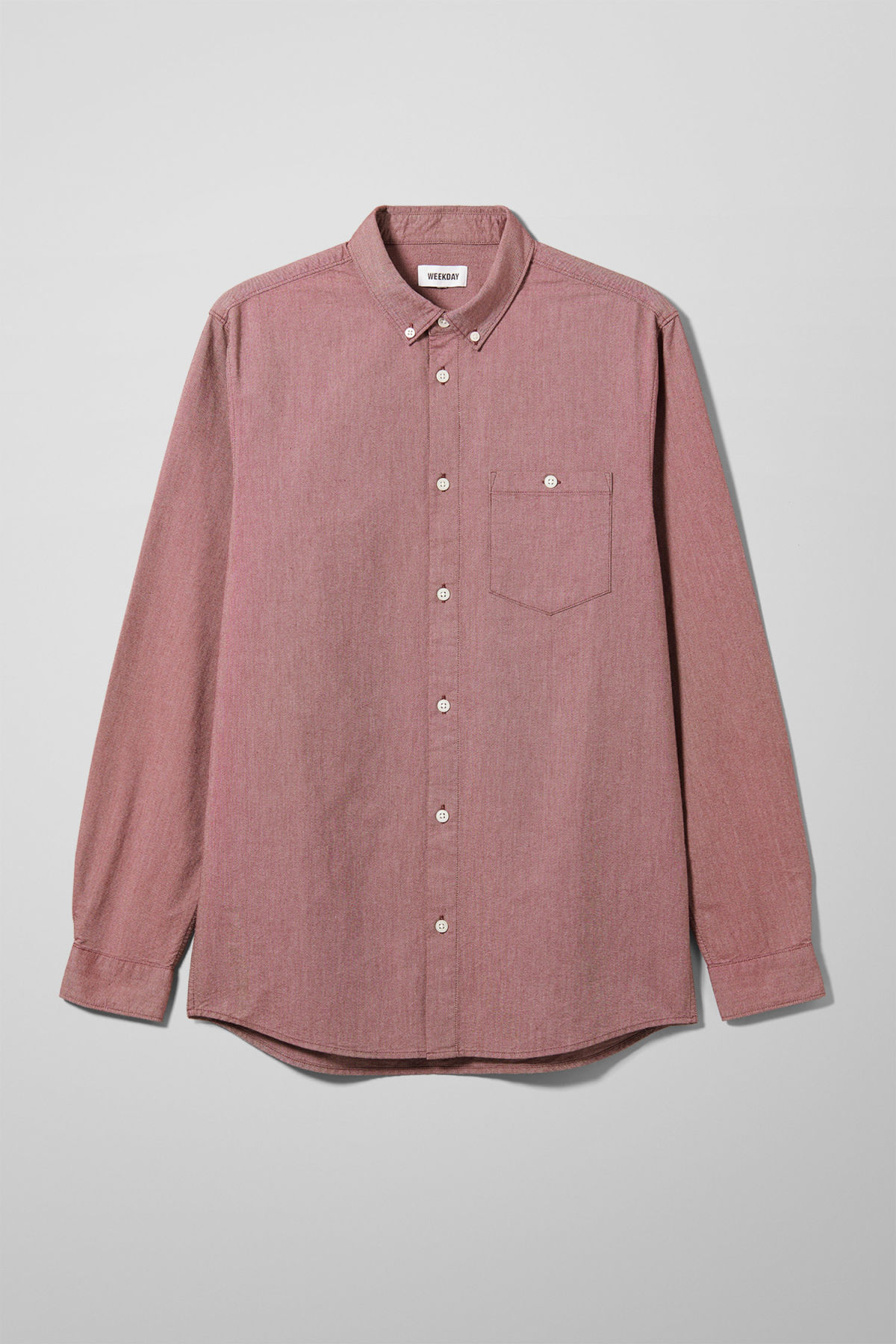 Front image of Weekday bad times shirt in red