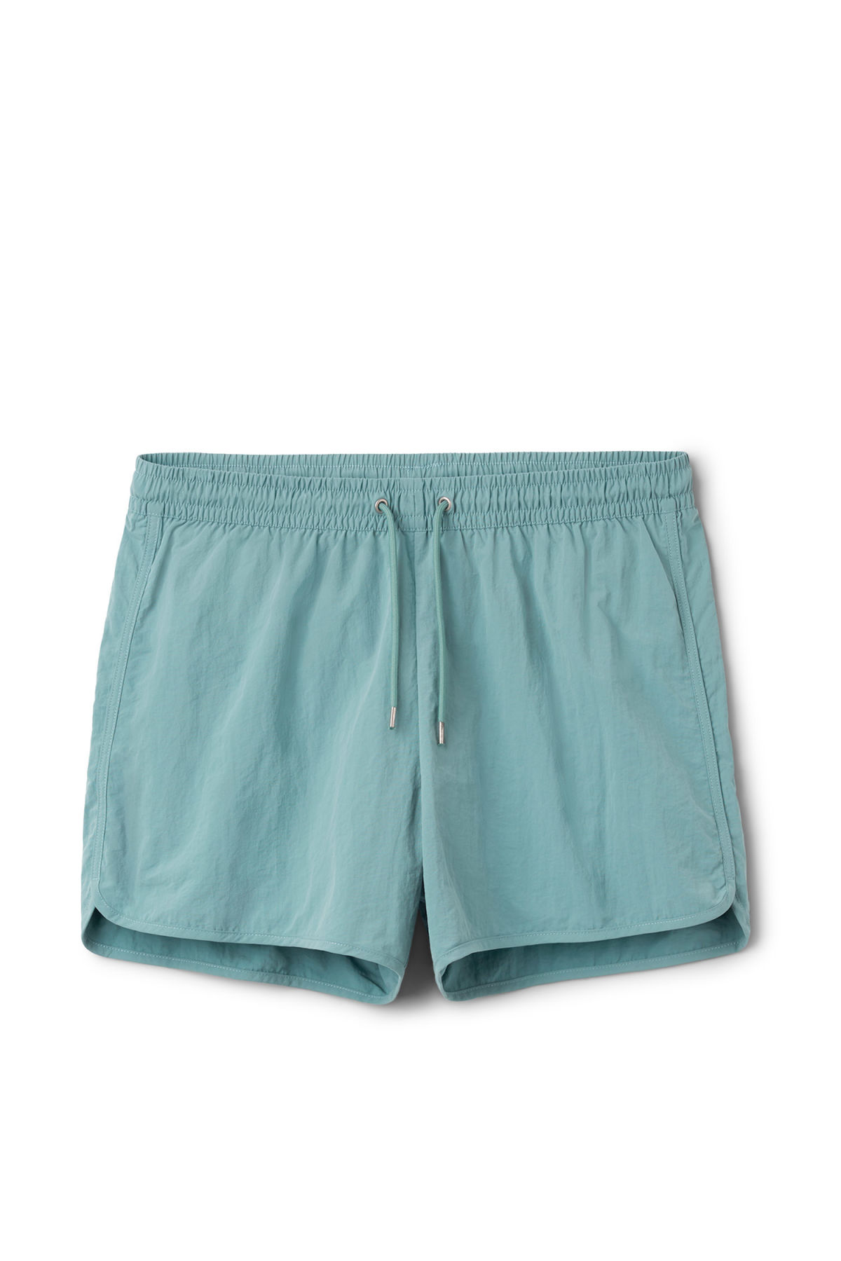 Front image of Weekday tan structure swim shorts in turquoise