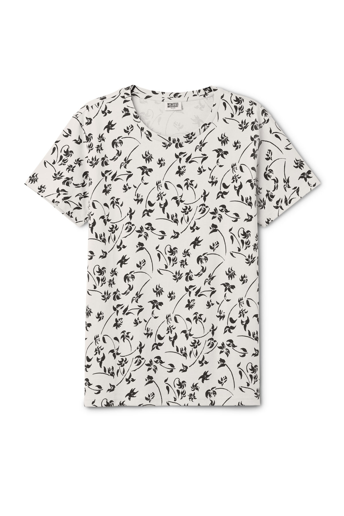 Front image of Weekday alex inkflower t-shirt in grey