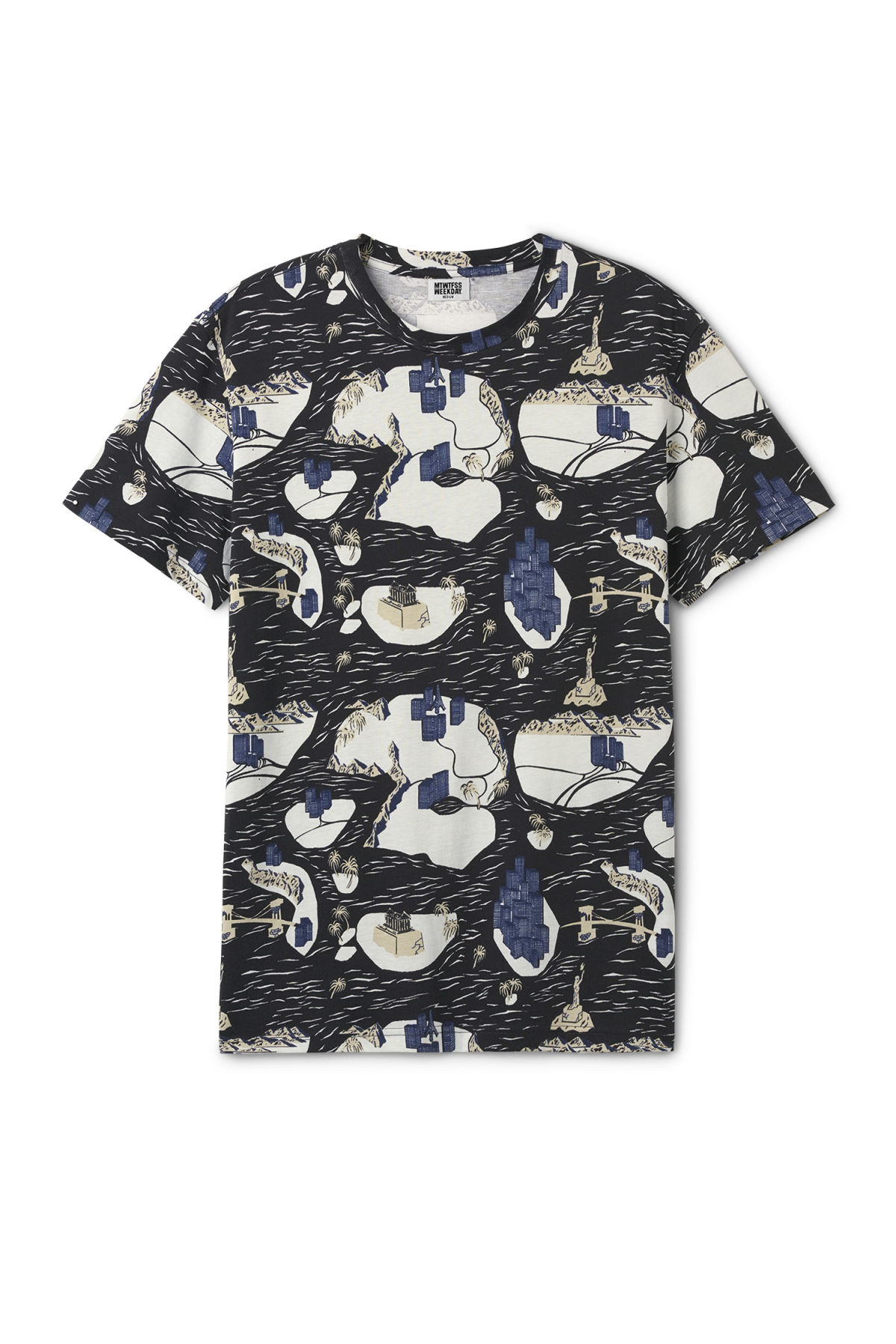 Front image of Weekday alan fantasy map t-shirt in black