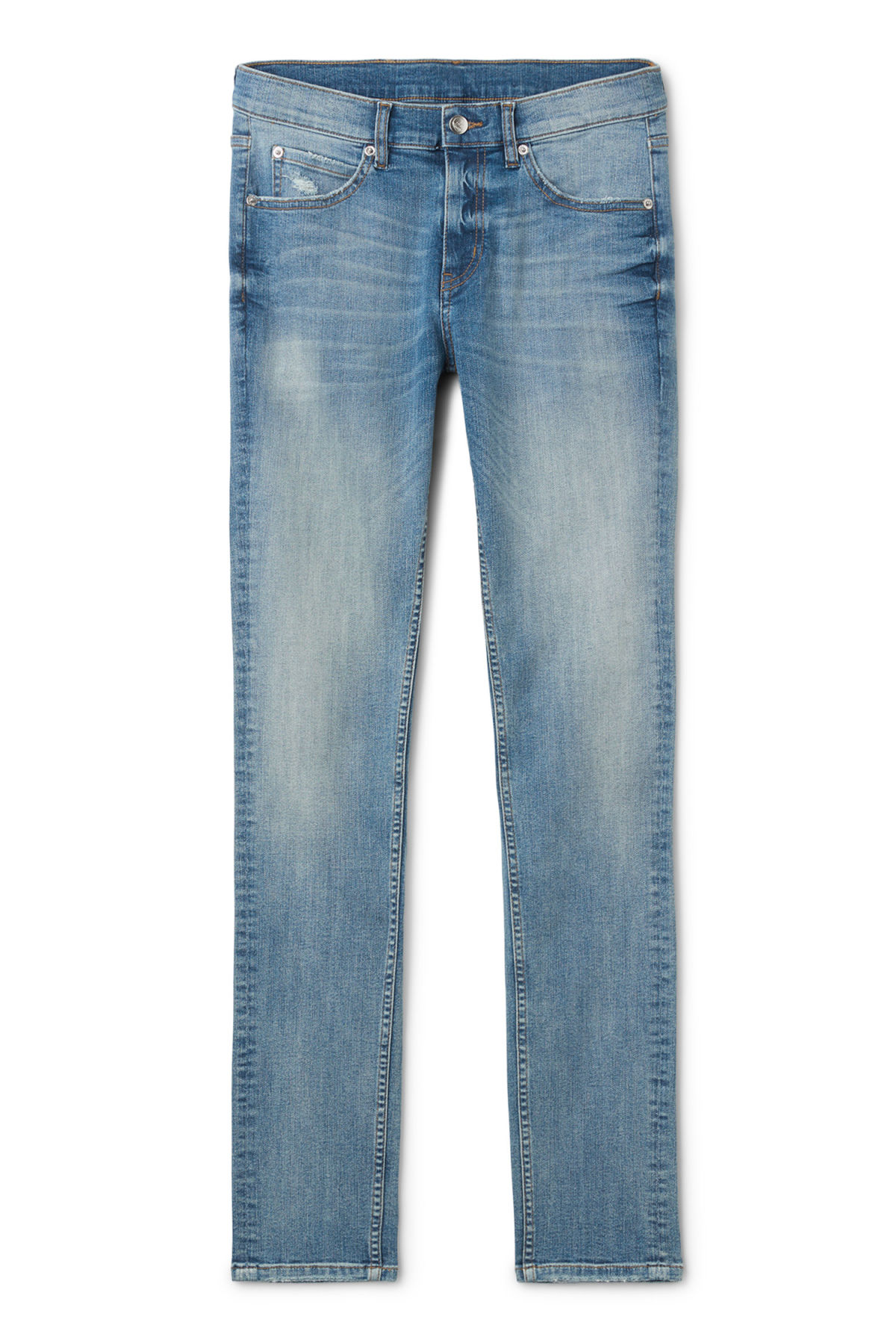 Front image of Weekday tight dug up blue jeans in blue