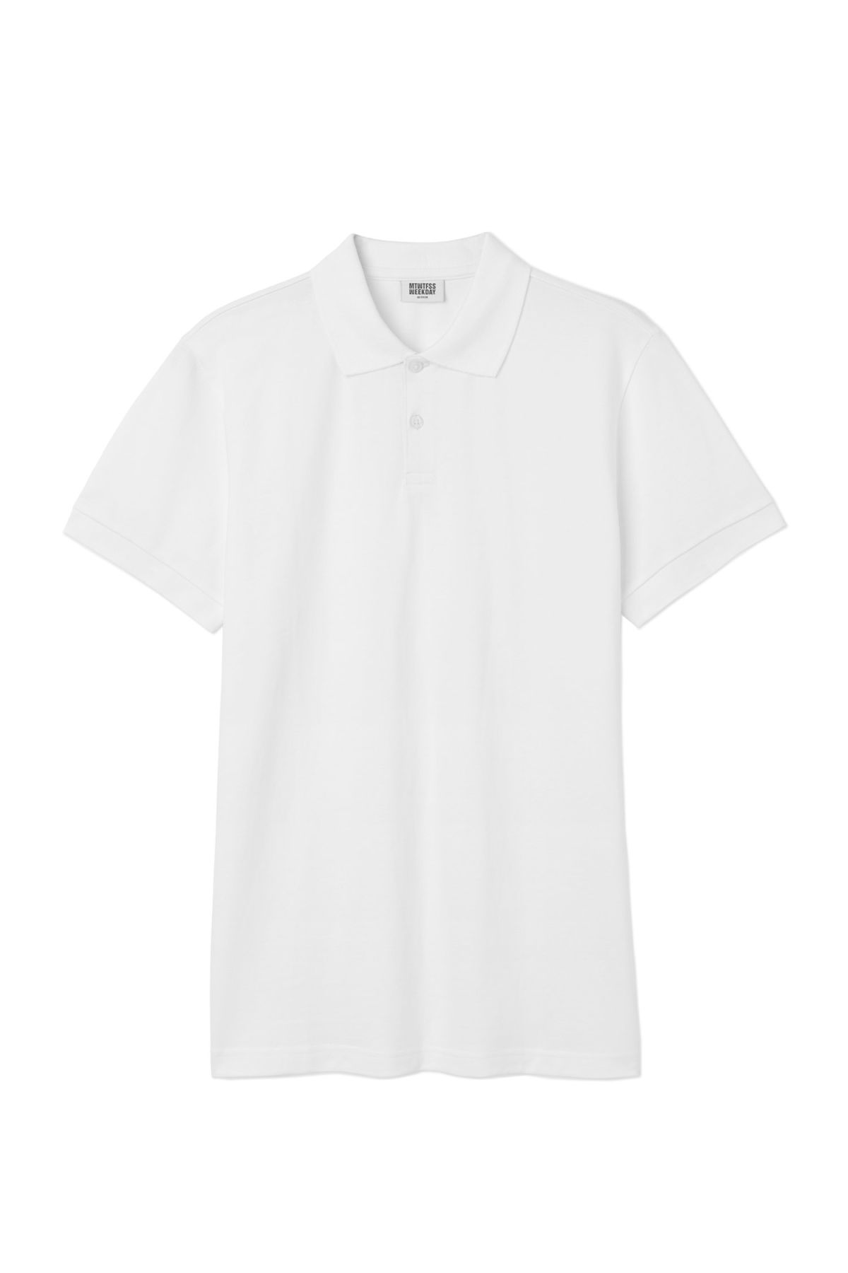 Front image of Weekday jam polo shirt in white