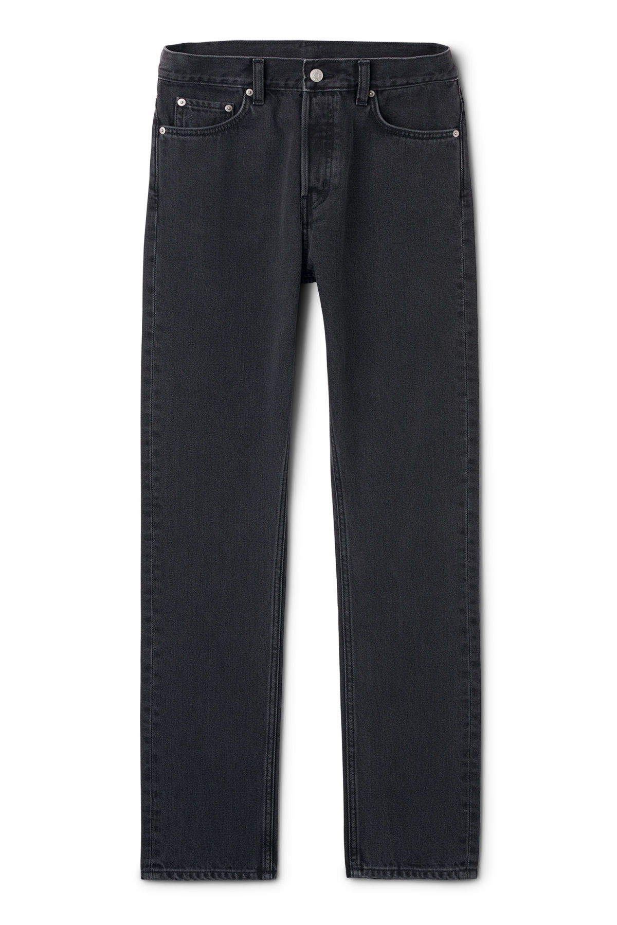 Front image of Weekday line washed black jeans in black