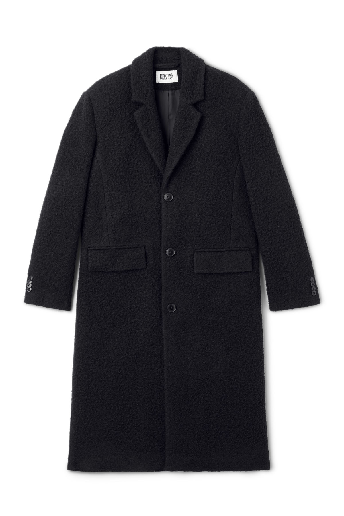 Front image of Weekday zeke knitted coat in black