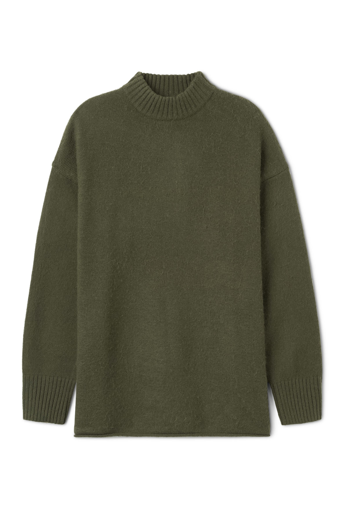 Front image of Weekday rock sweater in green