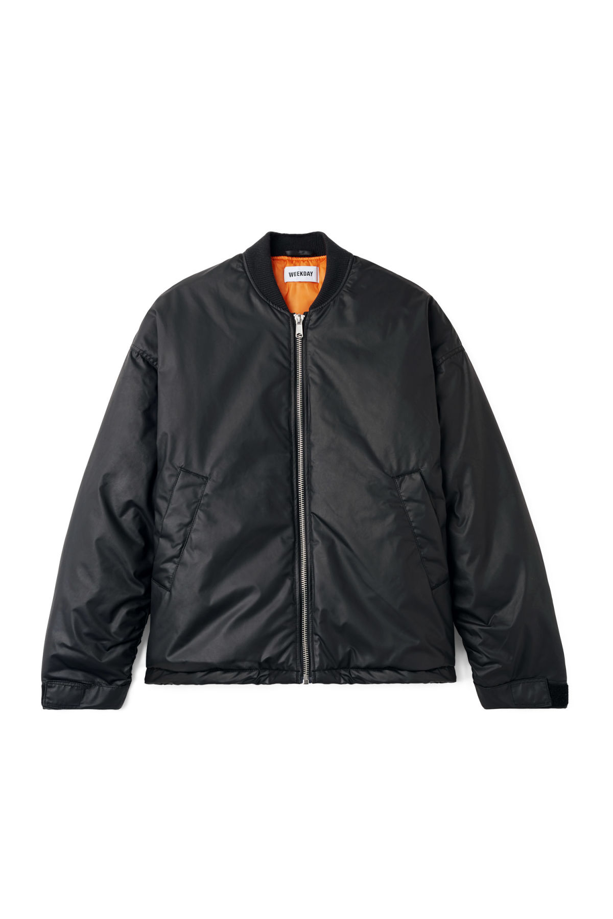 Front image of Weekday even bomber in black