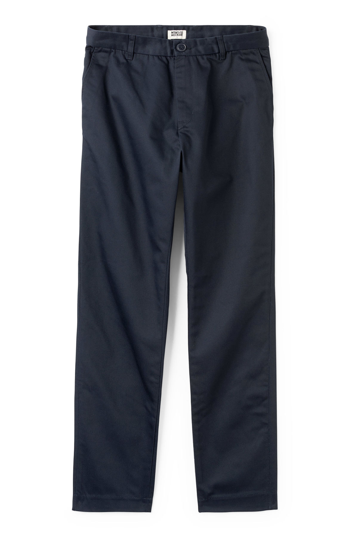 Front image of Weekday forest chinos in blue