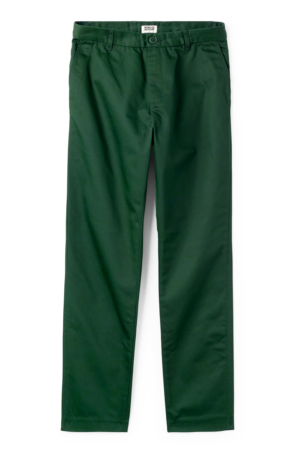 Front image of Weekday forest chinos in green