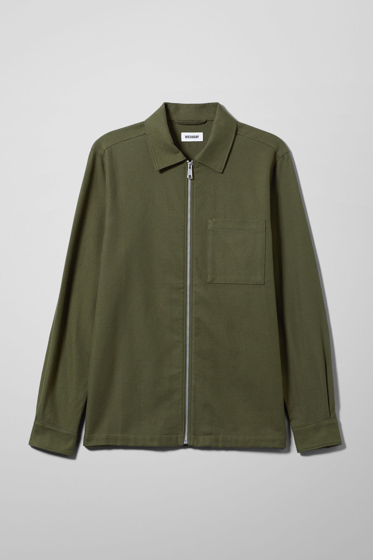 Front image of Weekday temp rugged shirt in green