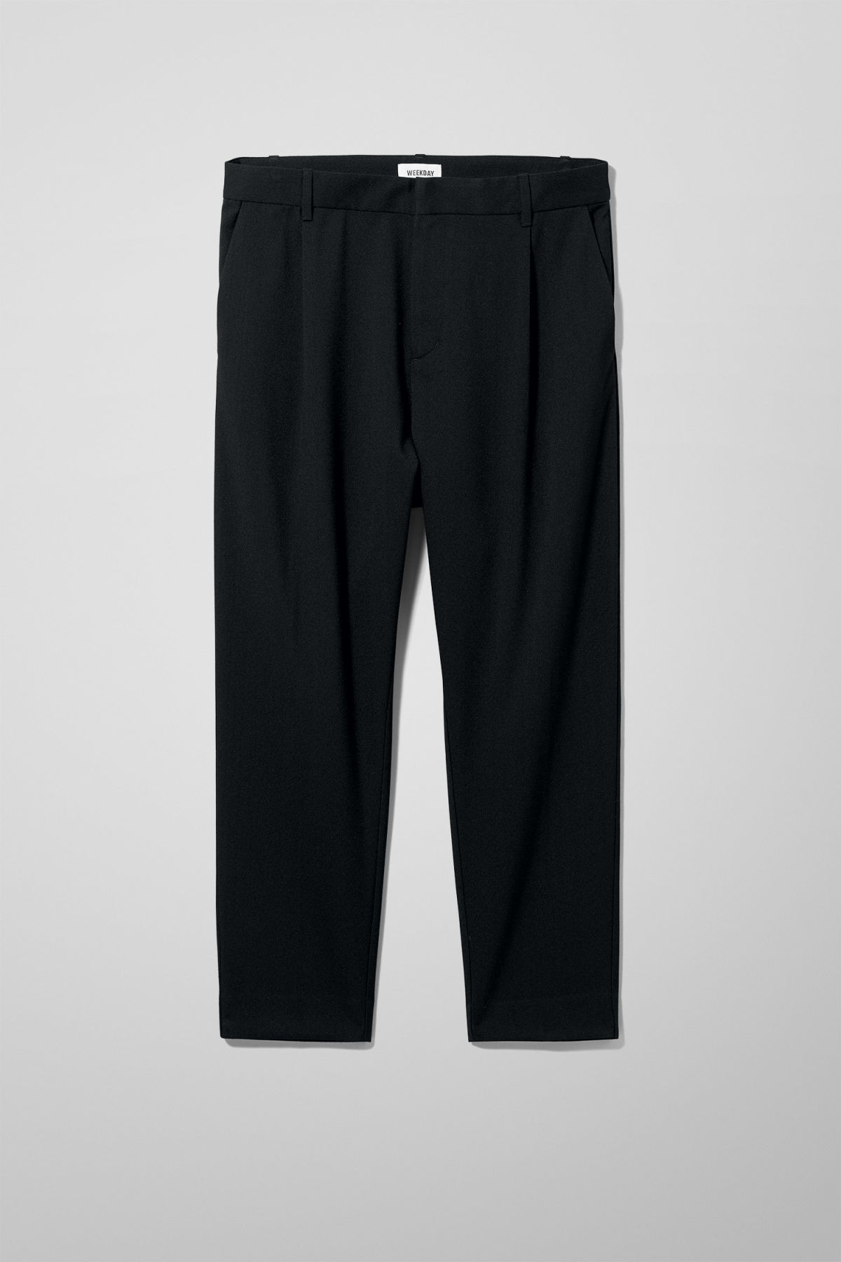 Front image of Weekday mard crepe trousers in black