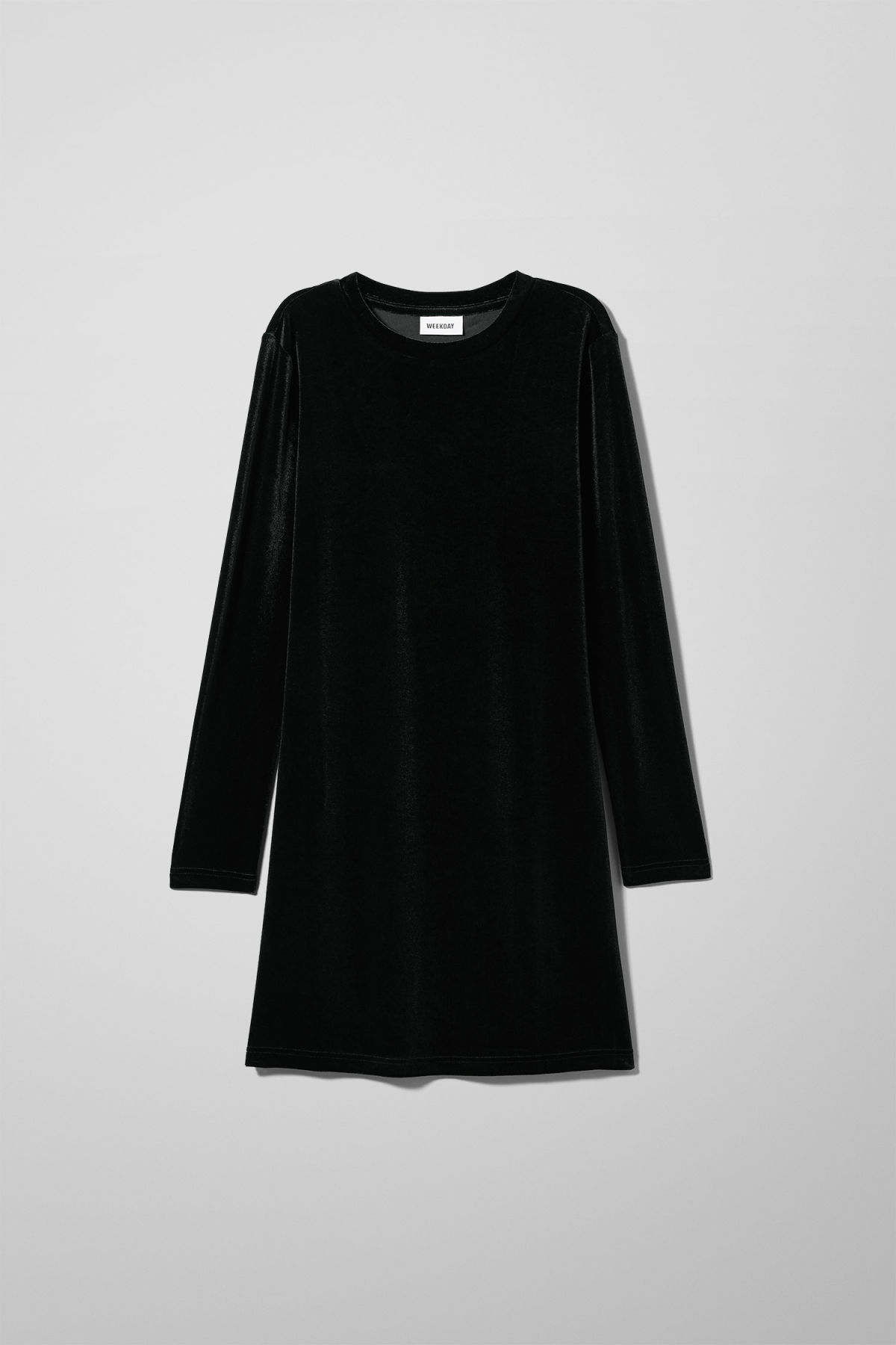 Front image of Weekday fray dress in black