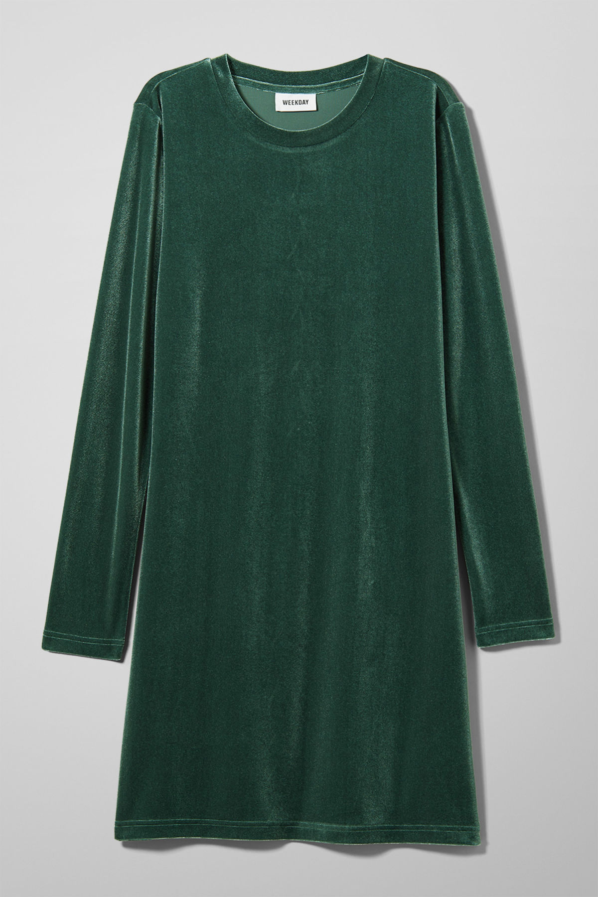 Front image of Weekday fray dress in green