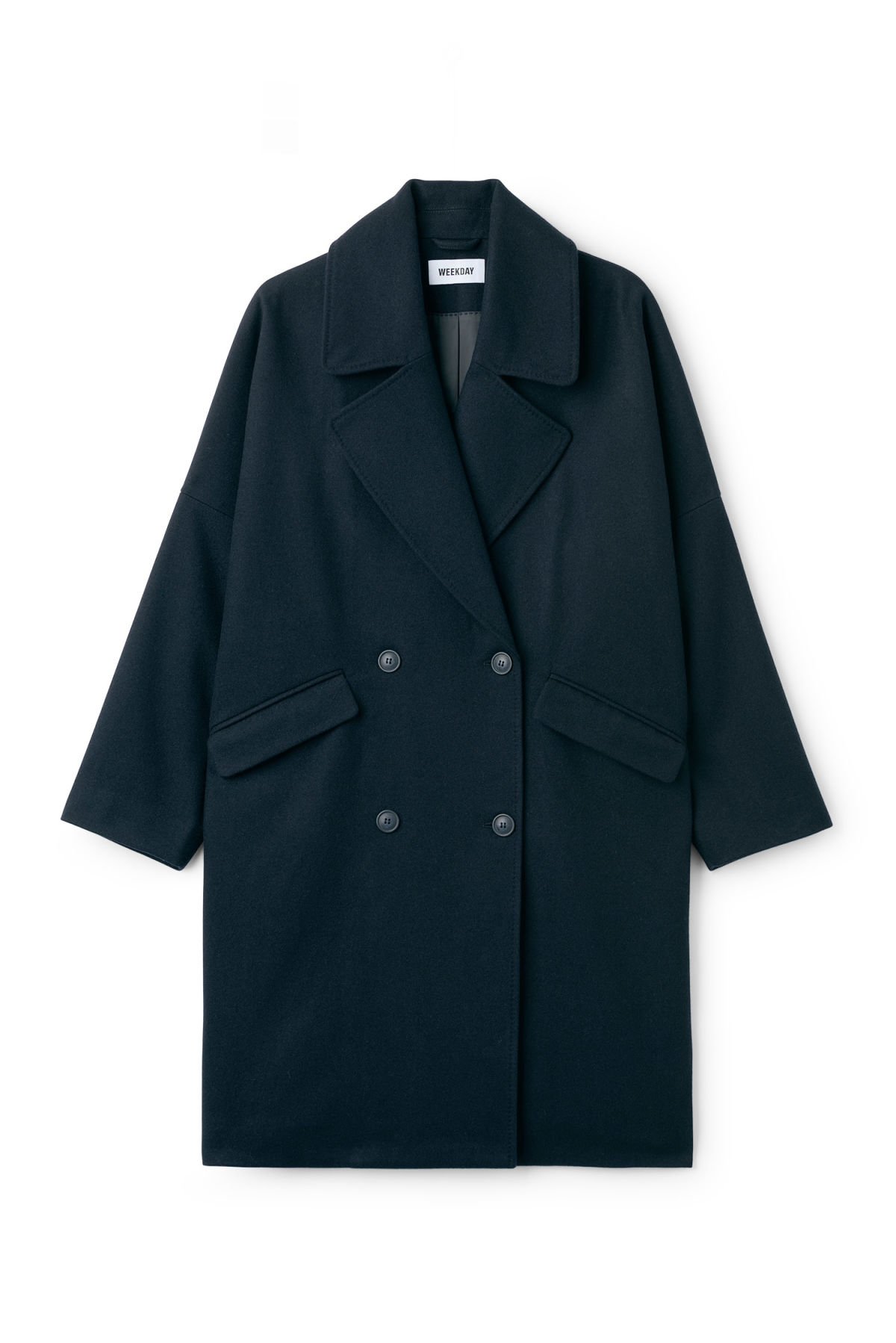 Front image of Weekday cilla coat in blue