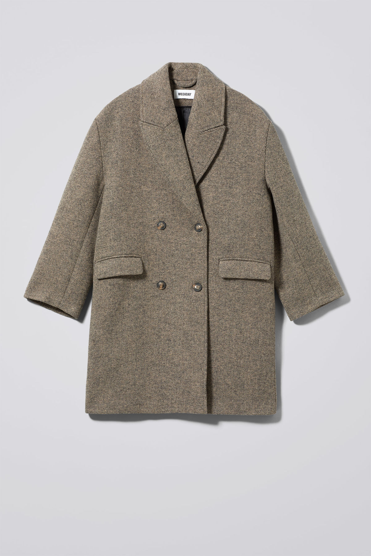 Front image of Weekday michelle coat in brown