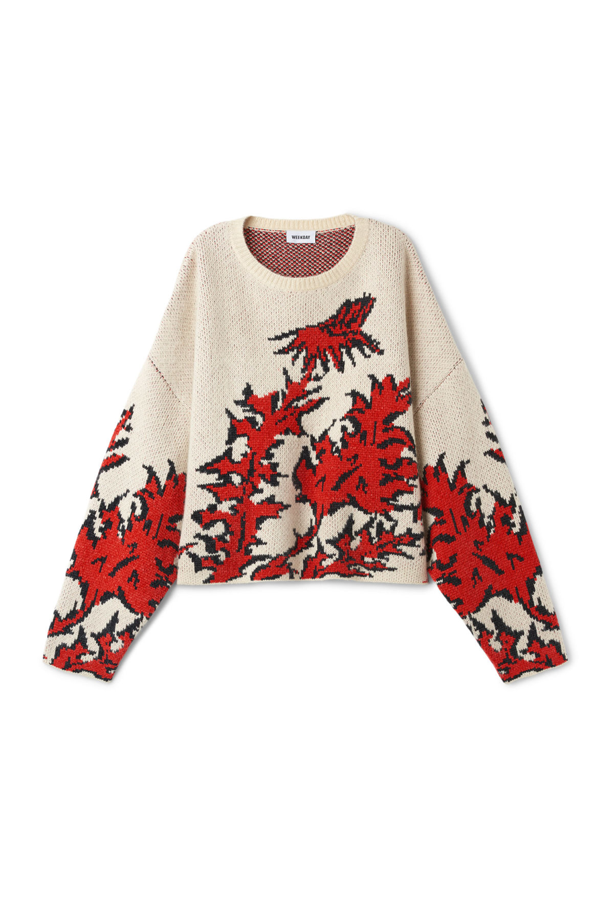 Front image of Weekday jani sweater in beige