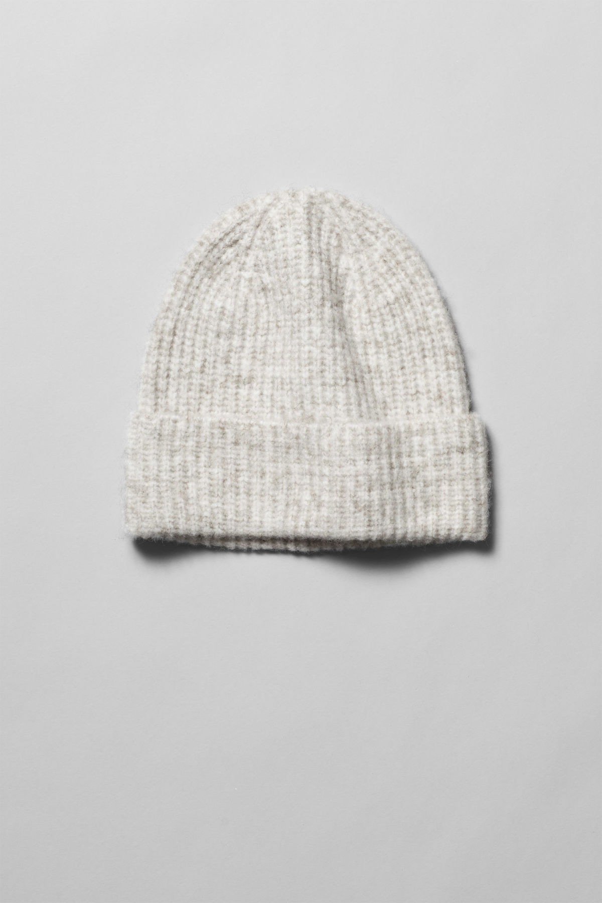 Front image of Weekday snow knit beanie in grey