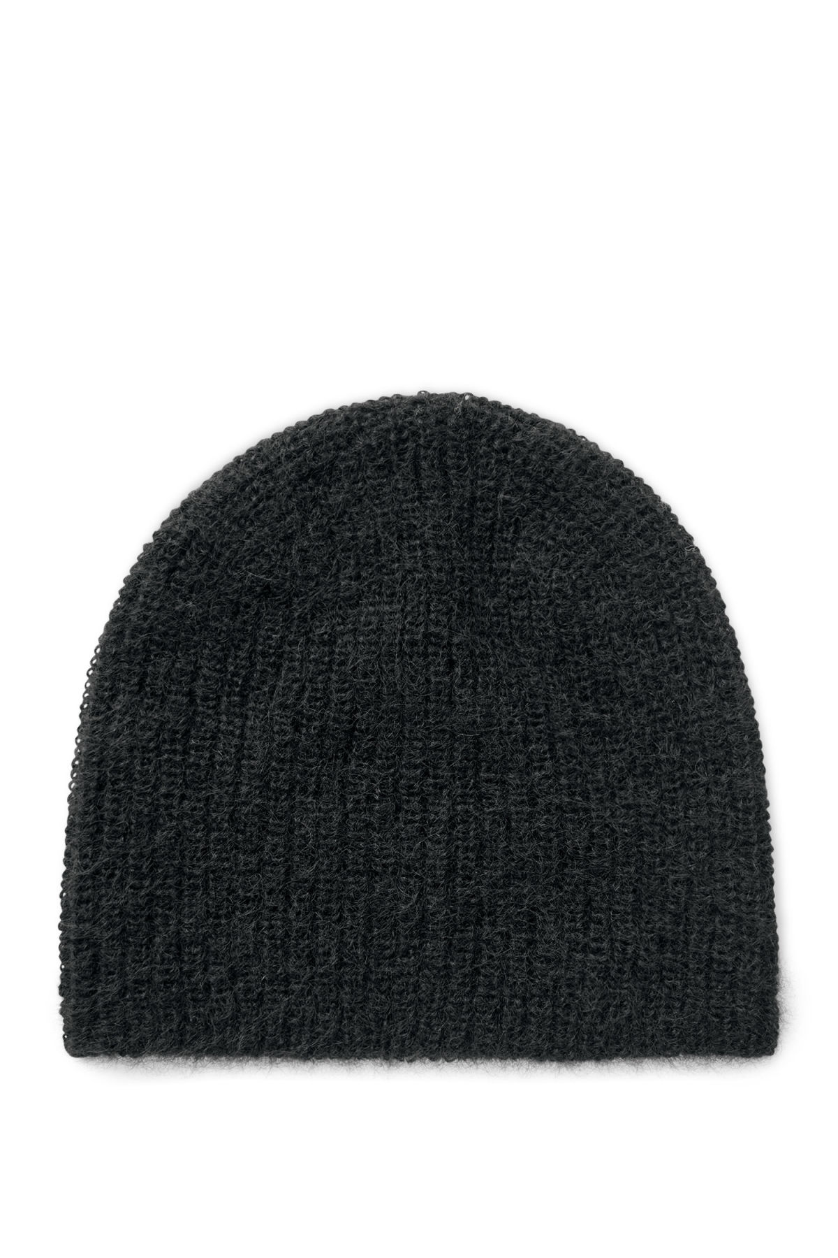 Front image of Weekday aspect knit beanie in black