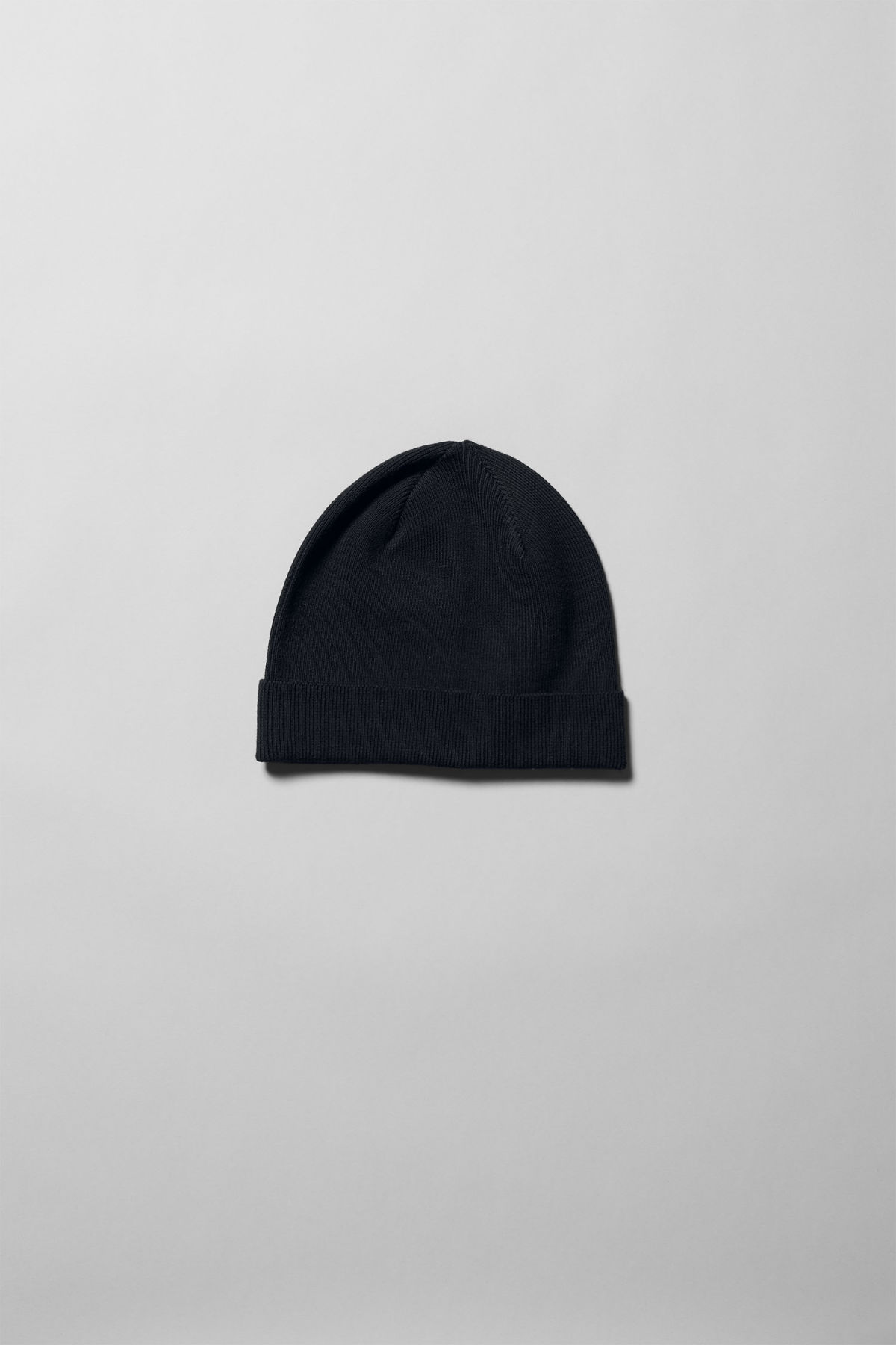 Front image of Weekday sly knit beanie in black