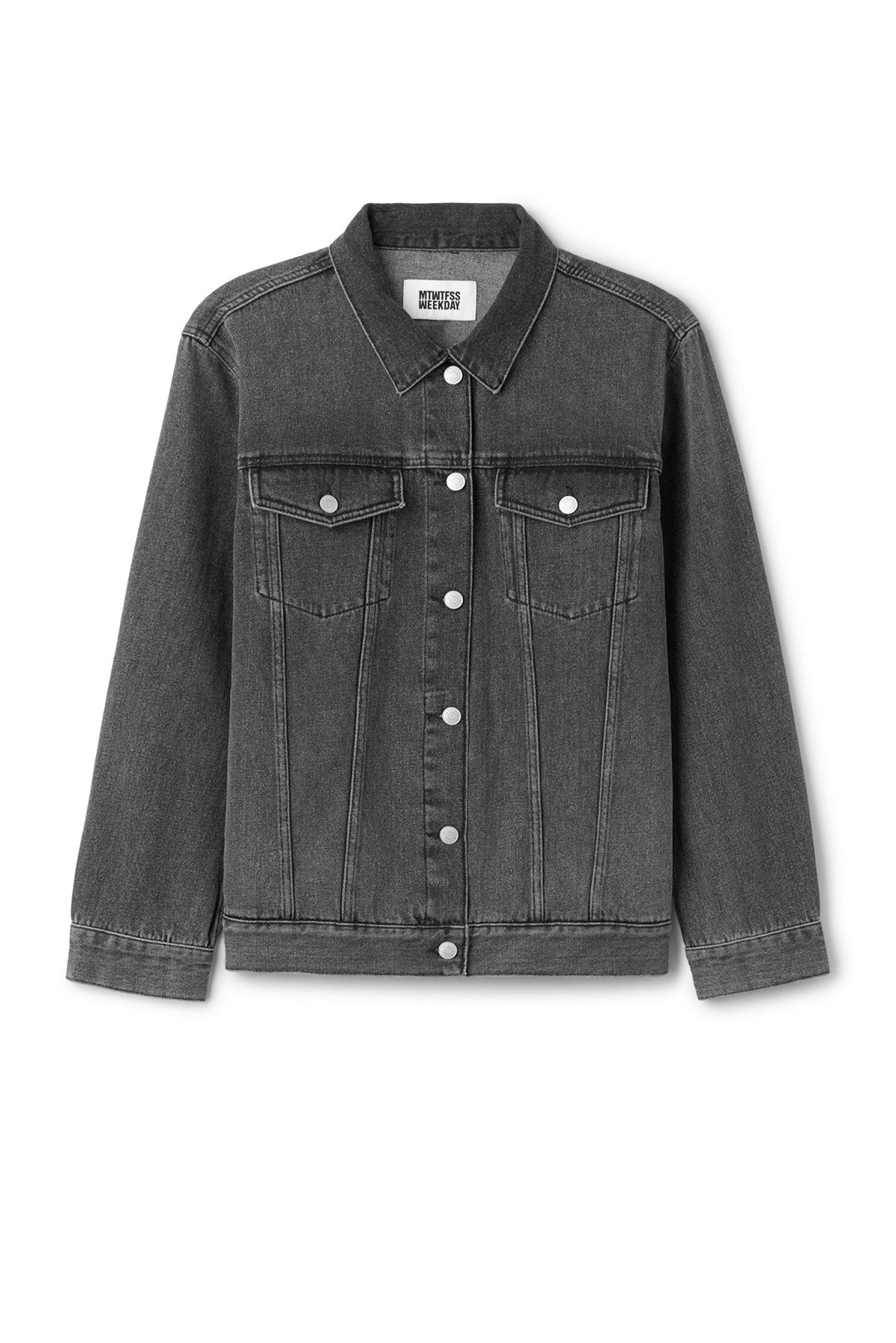 Front image of Weekday double denim jacket in black