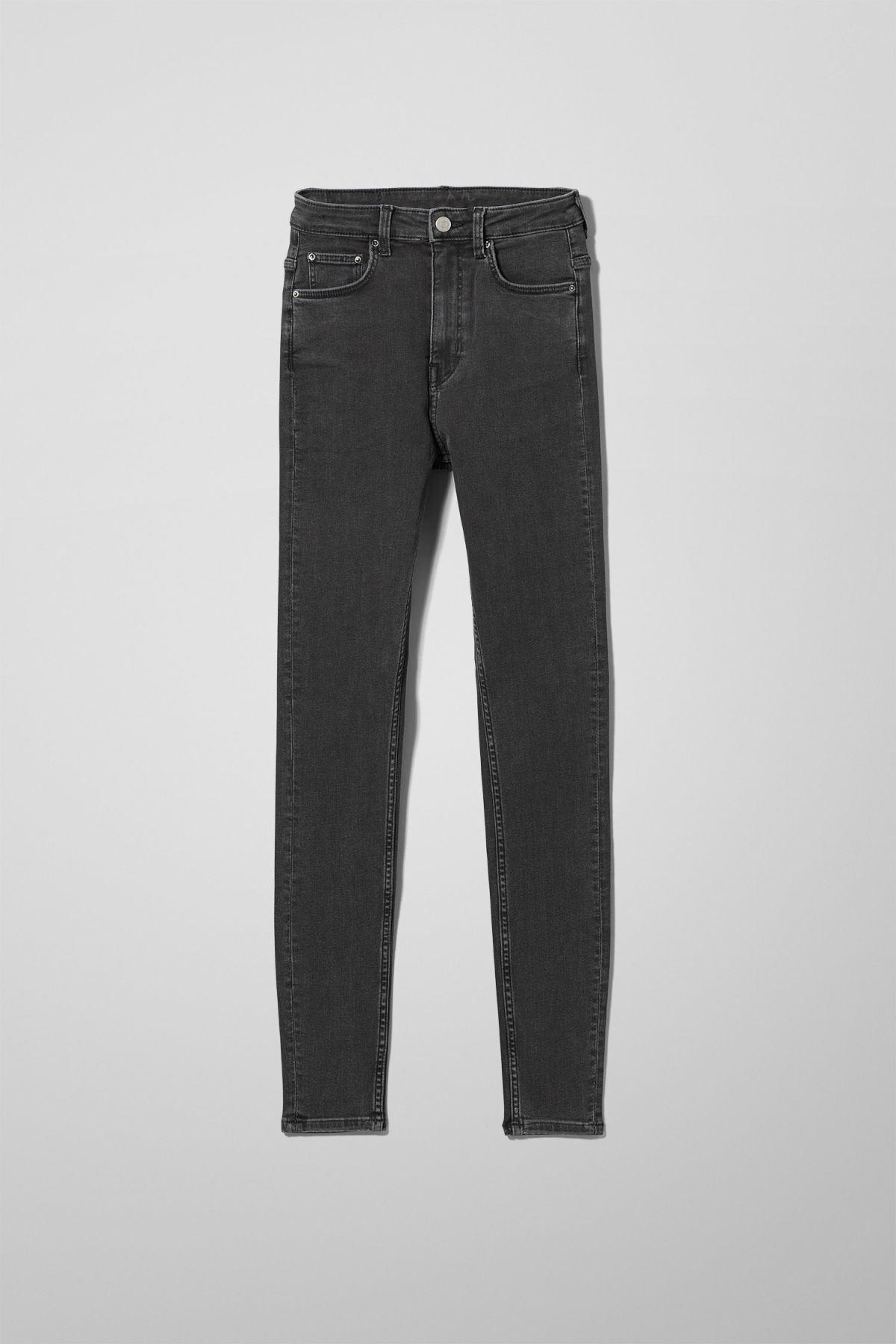 Front image of Weekday body high perfect black jeans in black