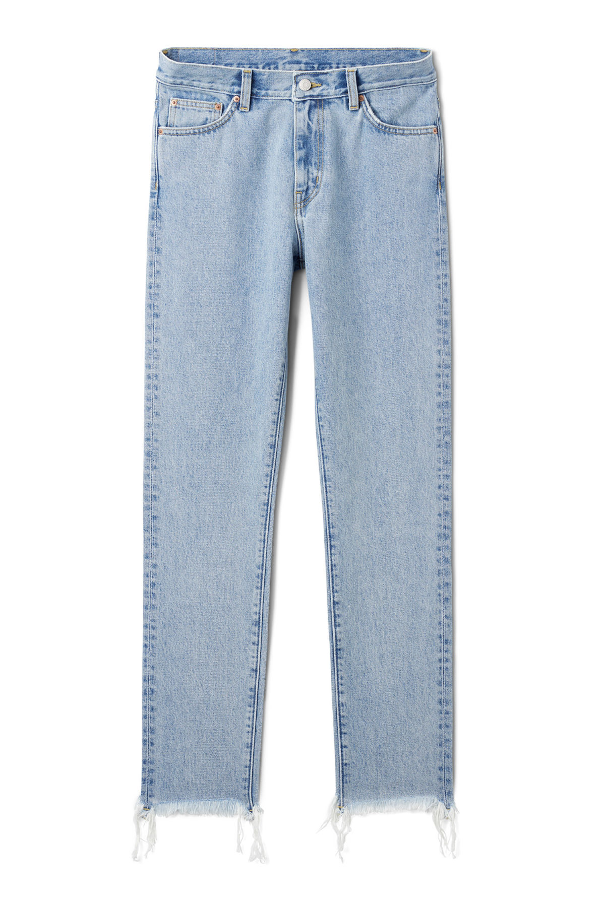 Front image of Weekday sharp lagoon blue jeans in blue