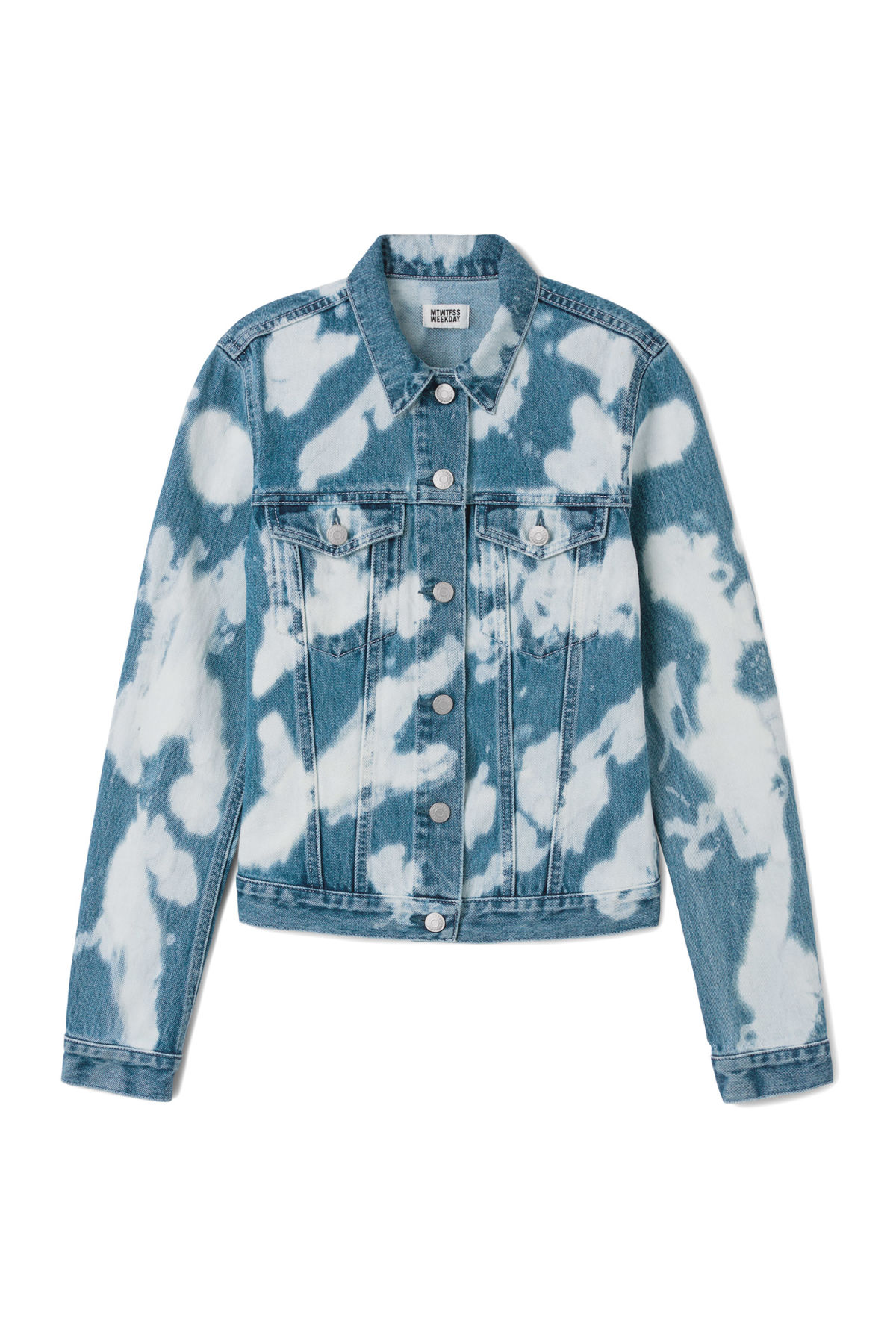 Front image of Weekday sky bleached jacket in blue