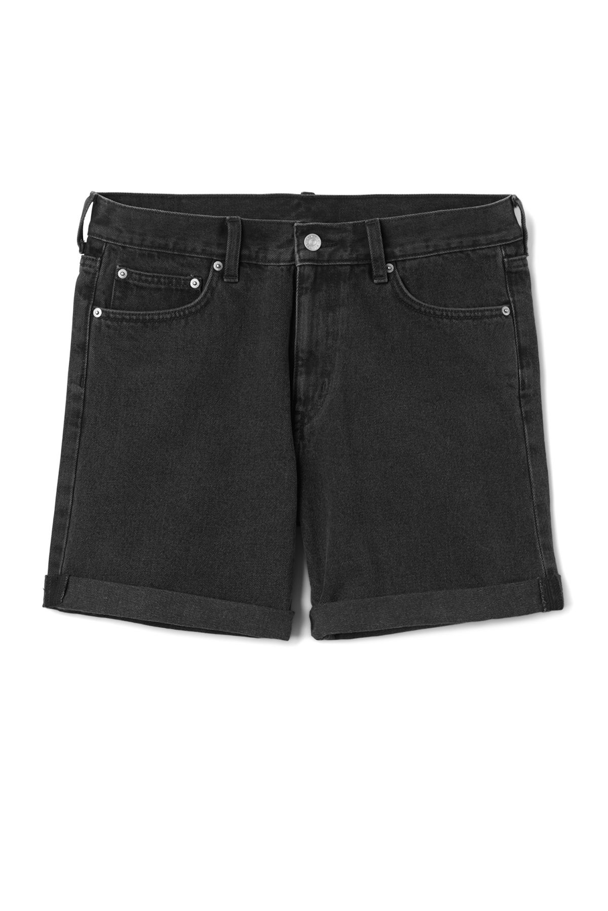 Front image of Weekday vacant shorts glory black in black