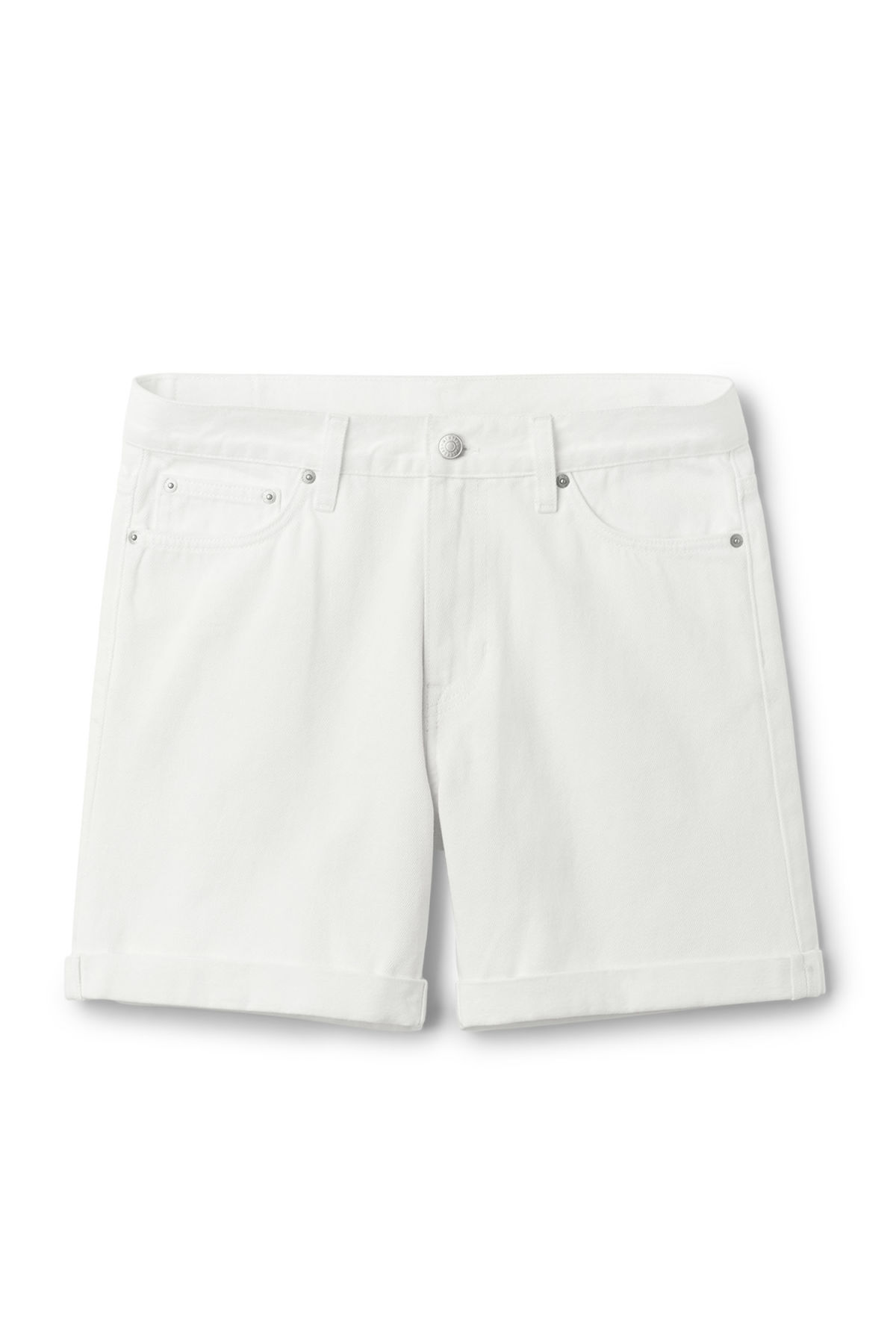 Front image of Weekday vacant shorts white in white