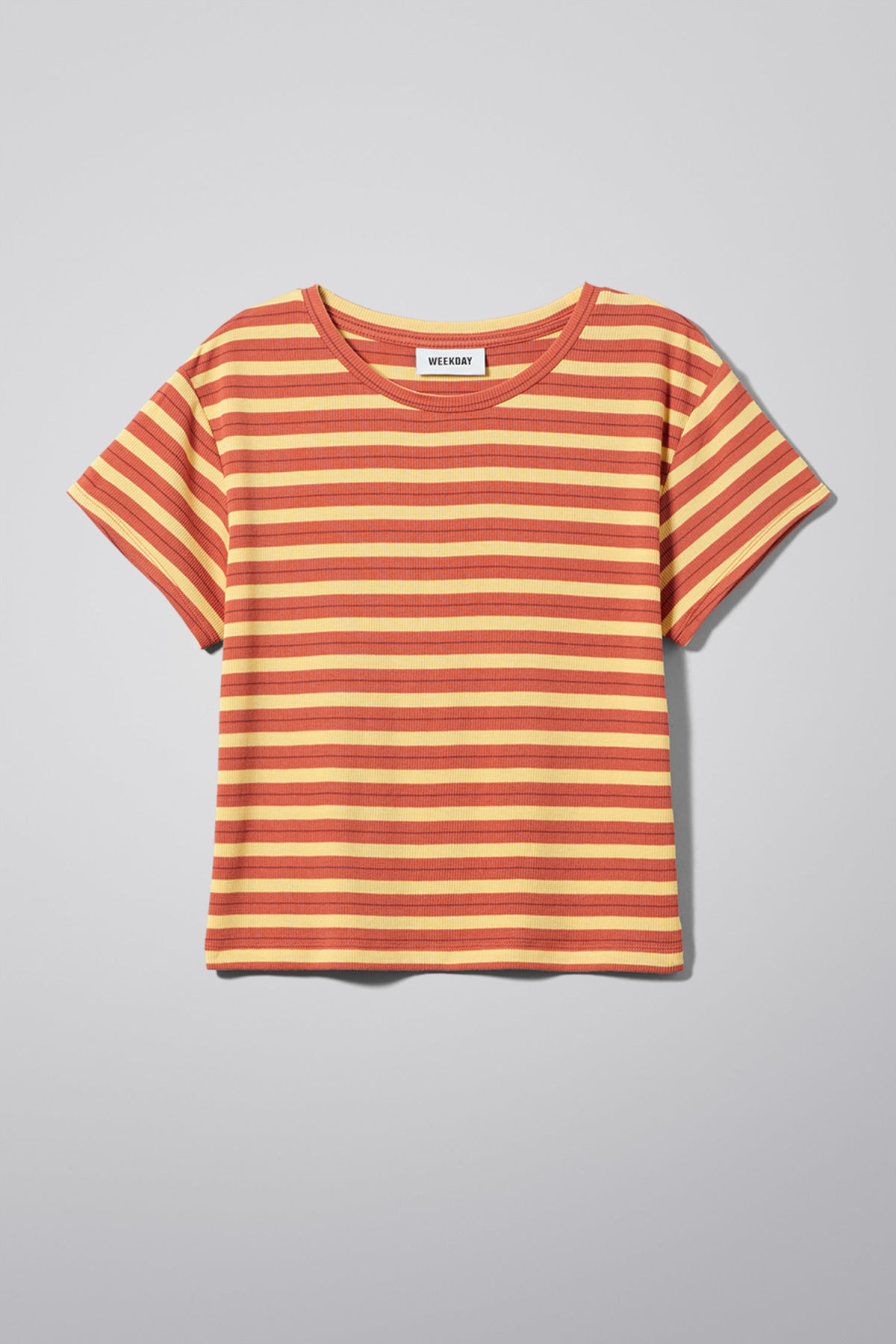 Front image of Weekday frances t-shirt in orange