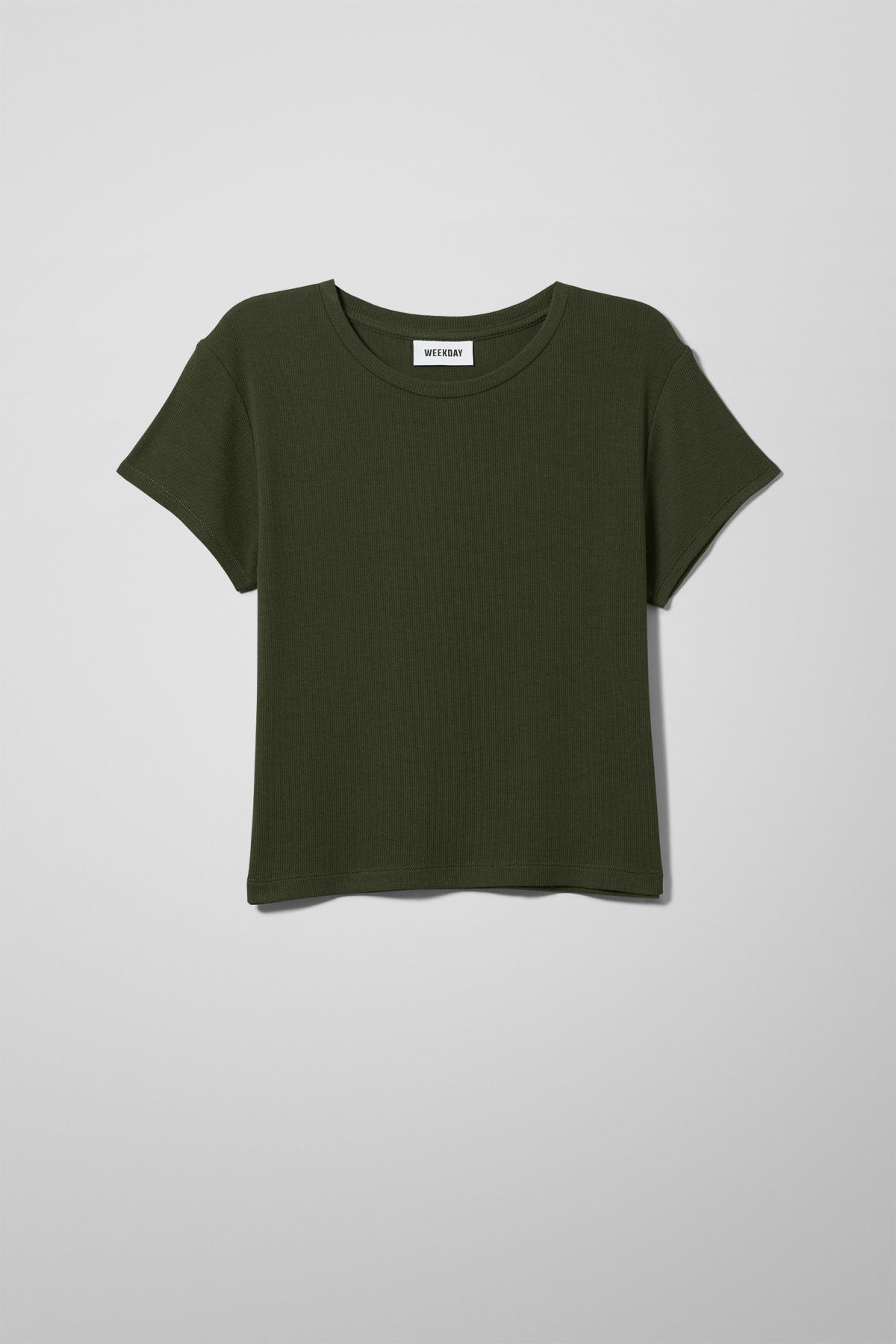 Front image of Weekday frances t-shirt in green