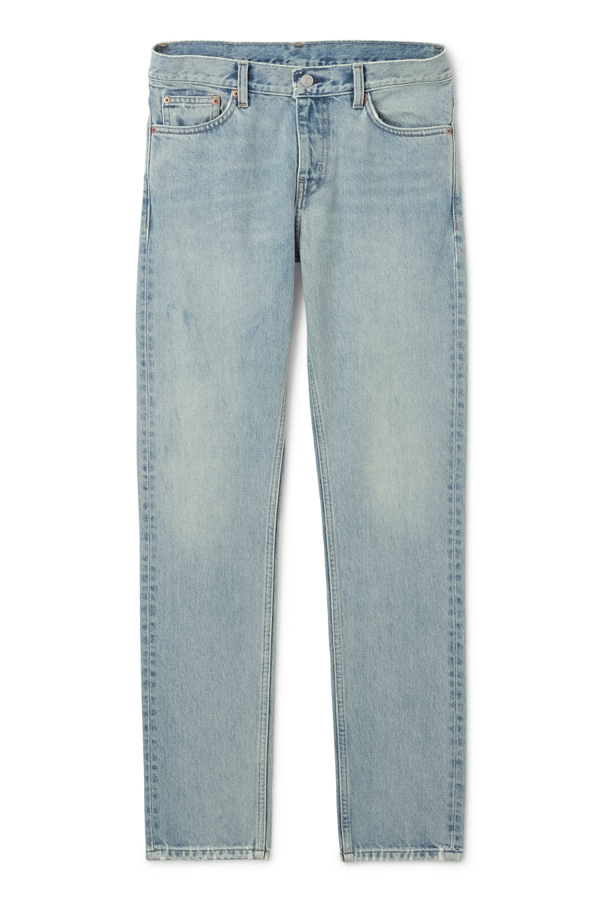 Front image of Weekday sharp mid pure blue jeans in blue