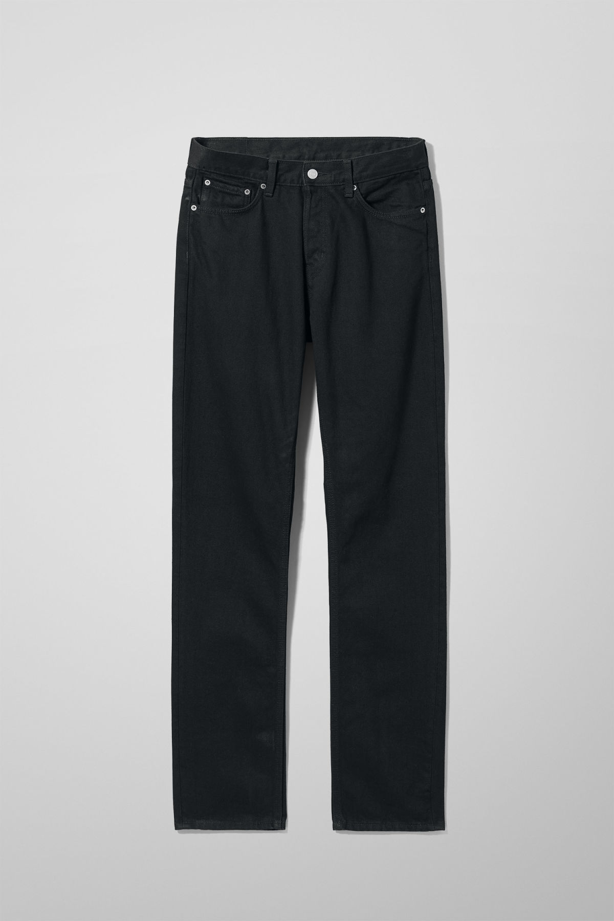 Front image of Weekday vacant rinsed black jeans in black