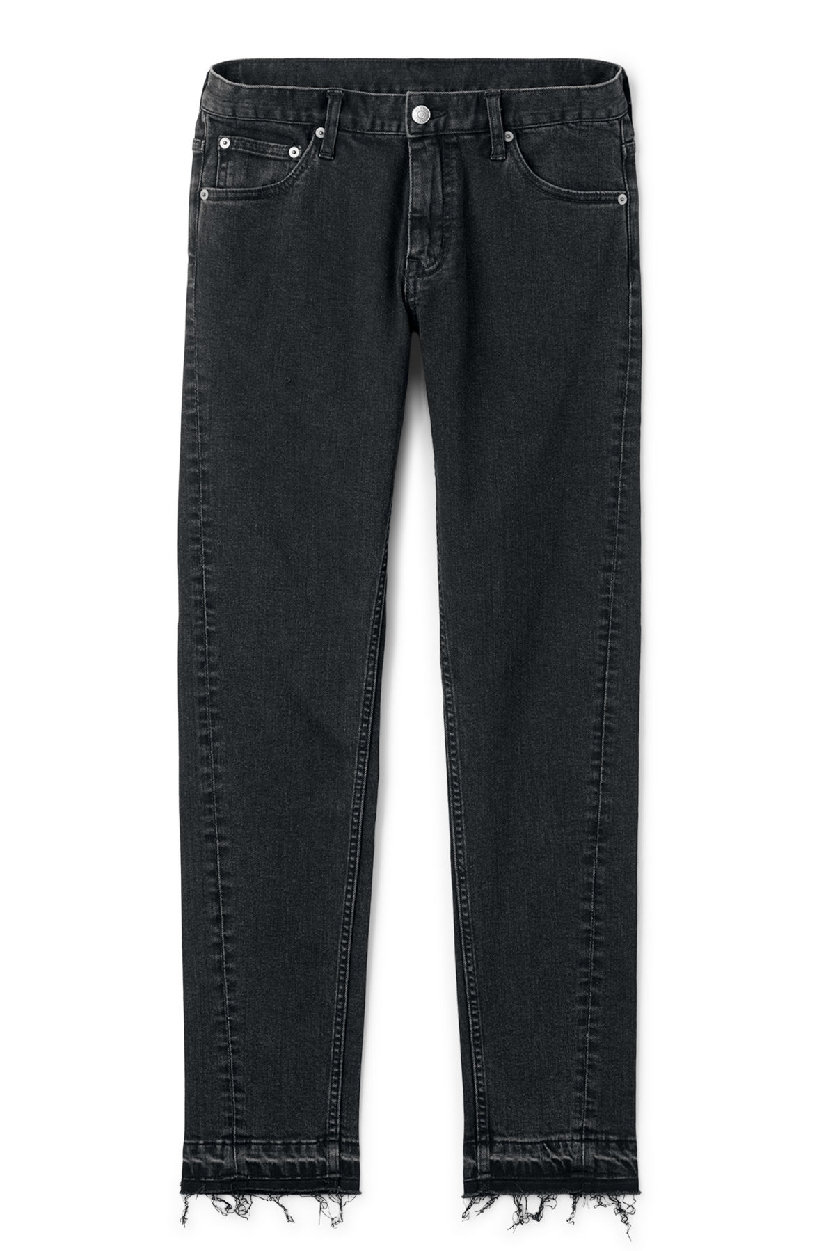 Front image of Weekday friday decon short black jeans in black