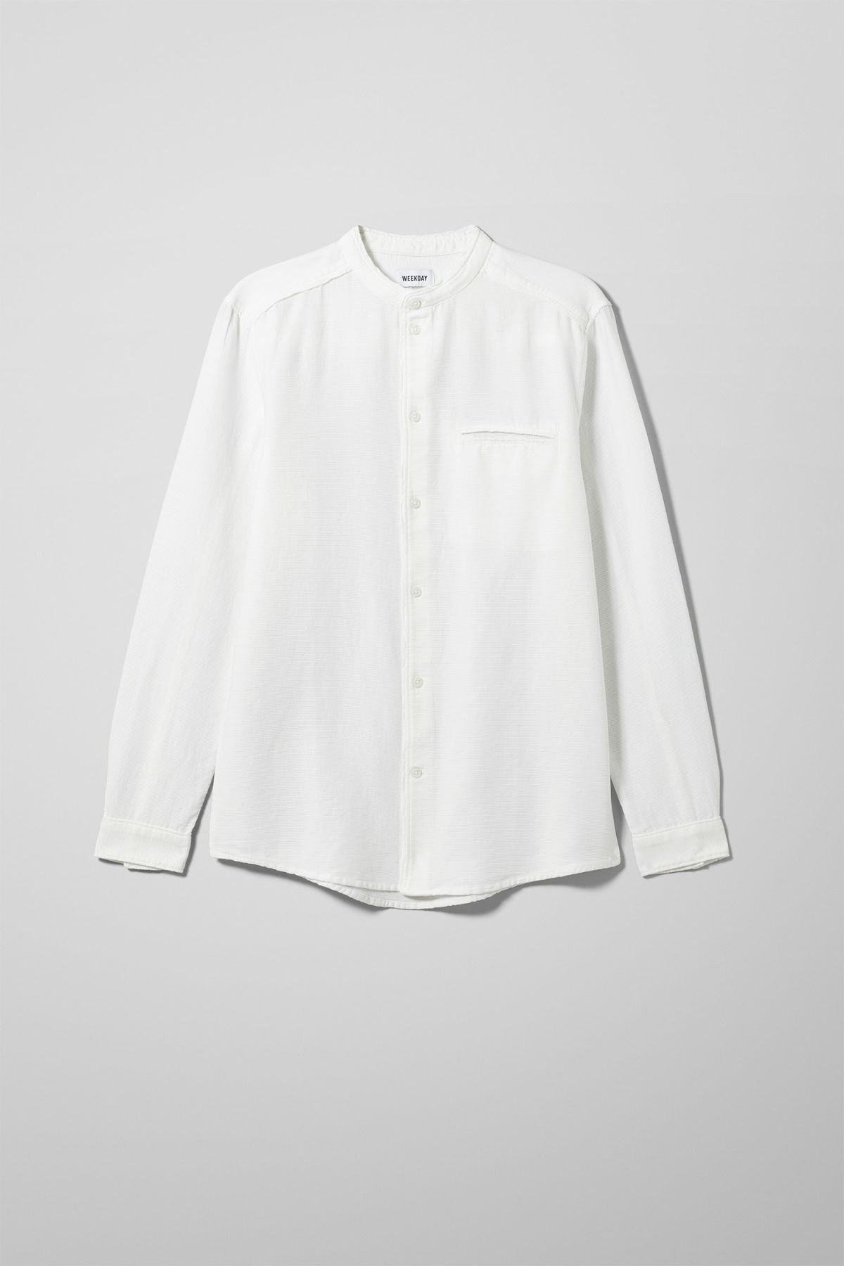 Front image of Weekday hunt shirt in white