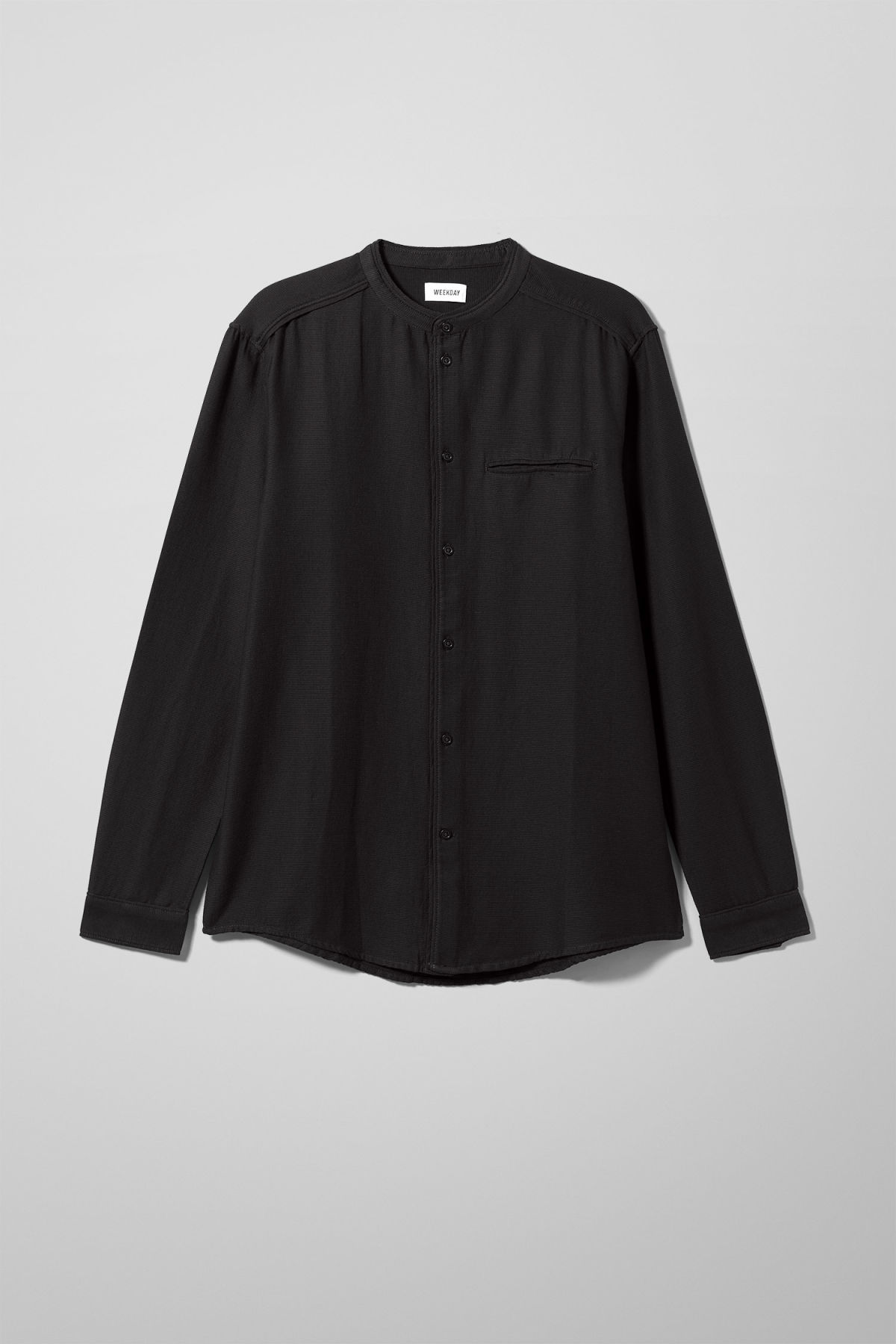 Front image of Weekday hunt shirt in black