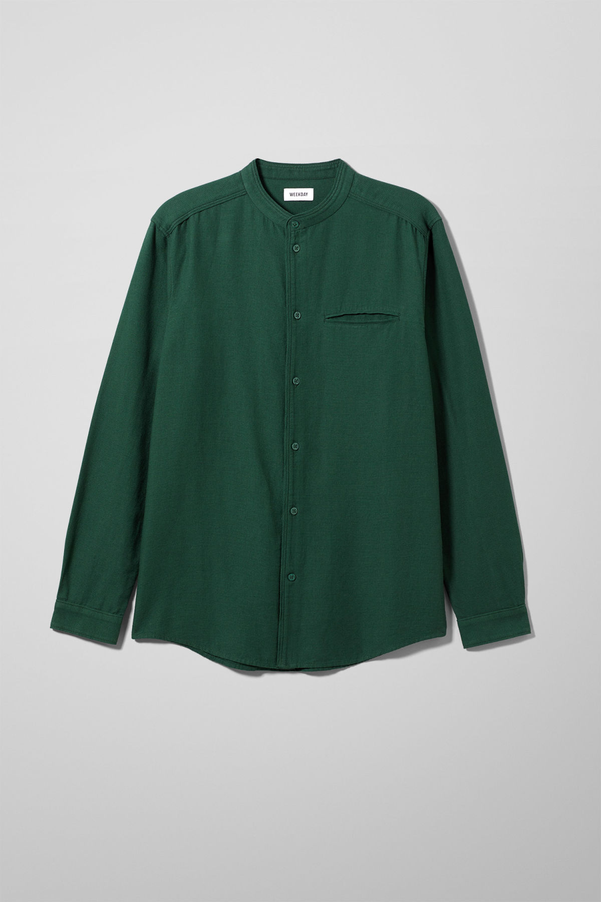 Front image of Weekday hunt shirt in green
