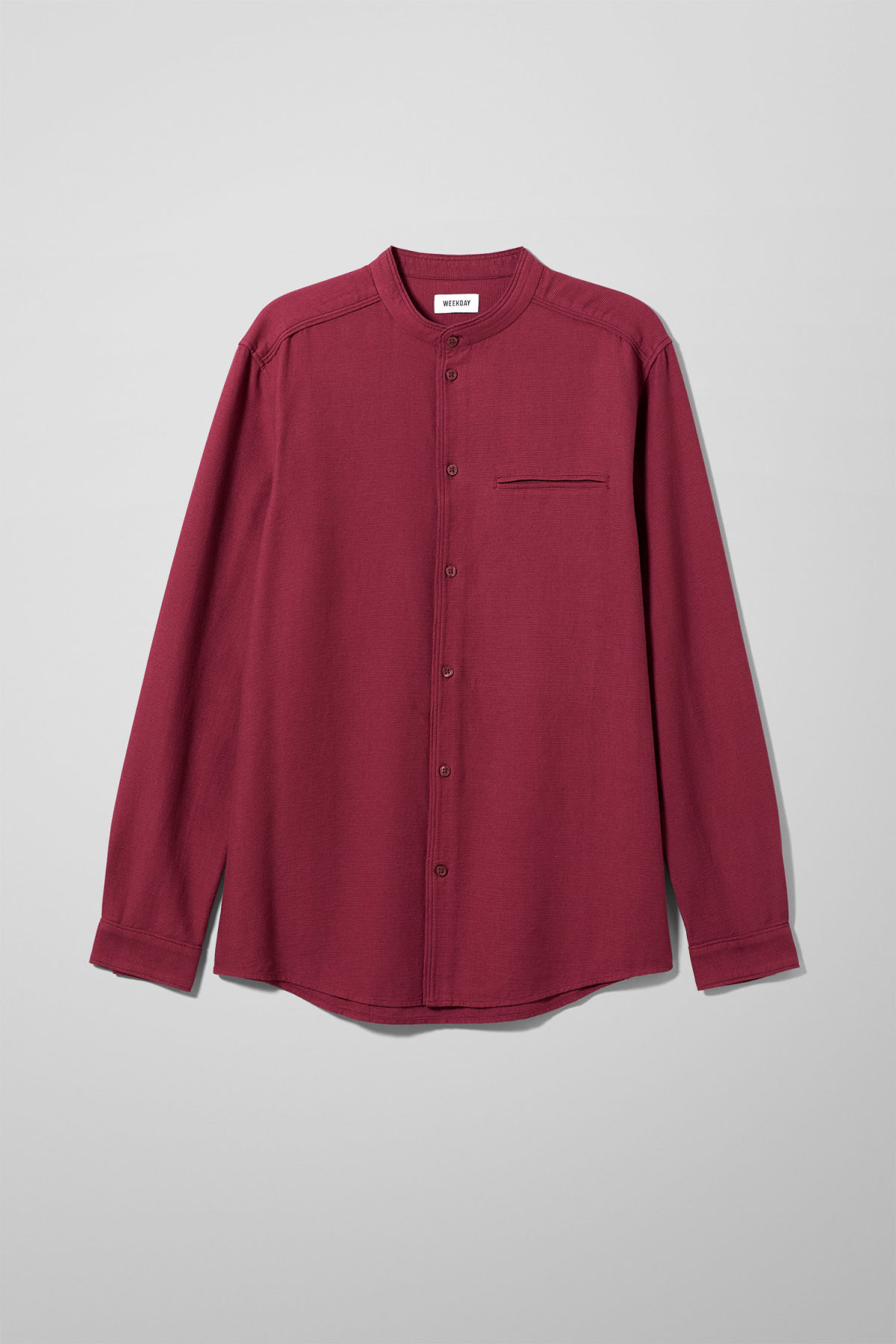 Front image of Weekday hunt shirt in red