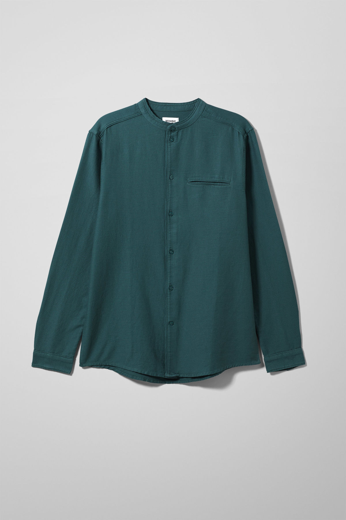 Front image of Weekday hunt shirt in turquoise
