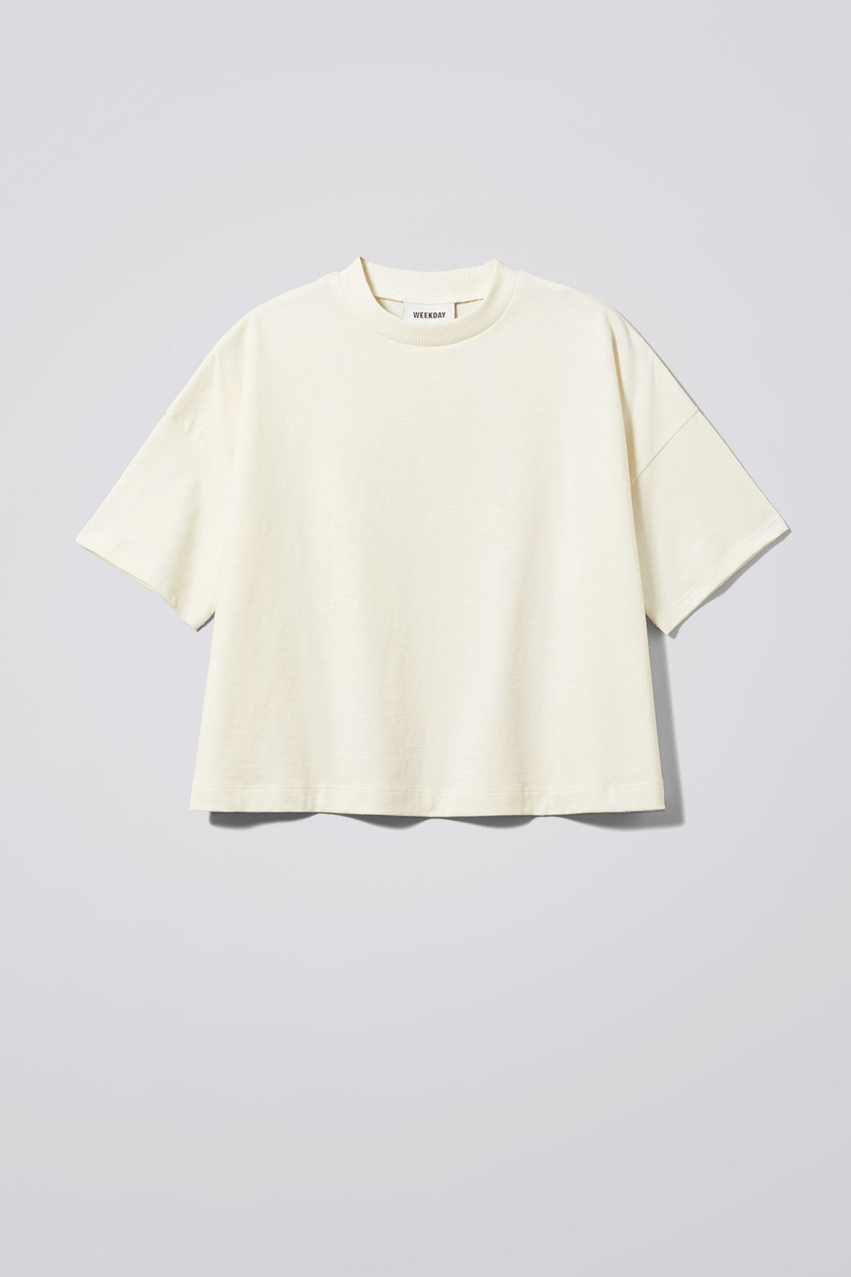Front image of Weekday carrie tee in white