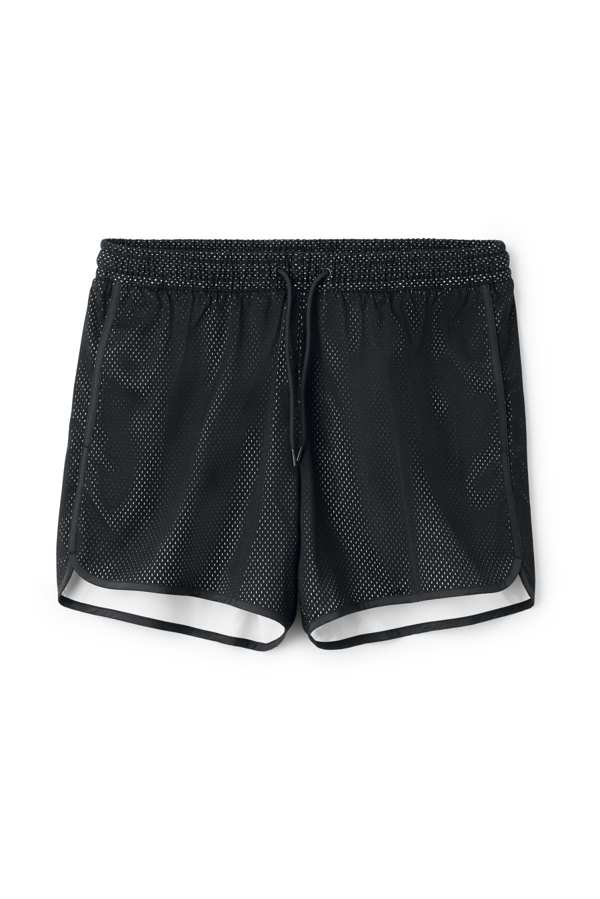 Front image of Weekday mesh swim shorts in black