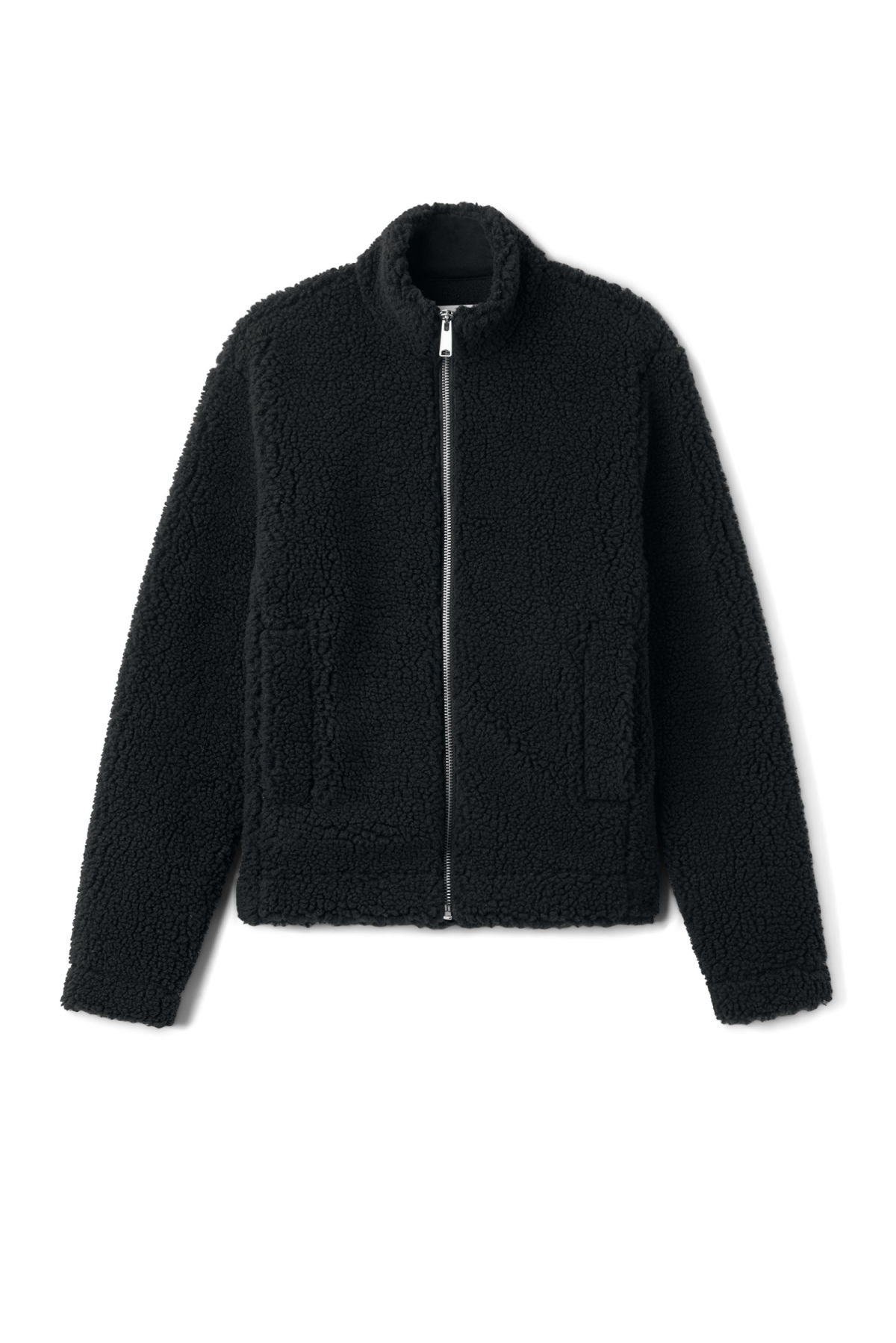 Front image of Weekday wes zip sweater in black