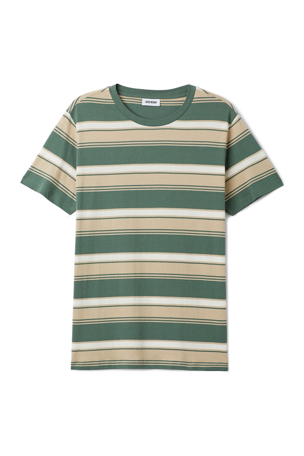 Front image of Weekday home stripe t-shirt in green