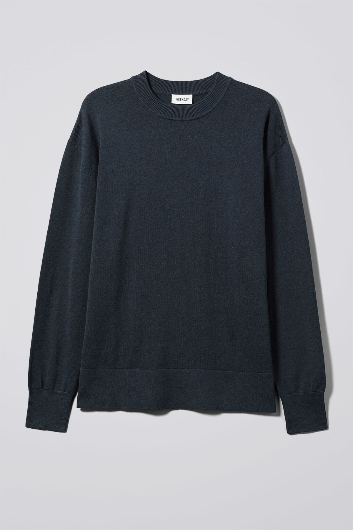 Front image of Weekday earl cotton sweater in blue