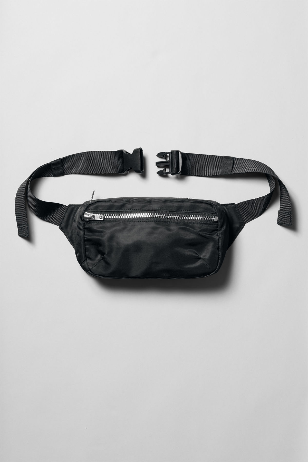 Front image of Weekday wood waist bag in black